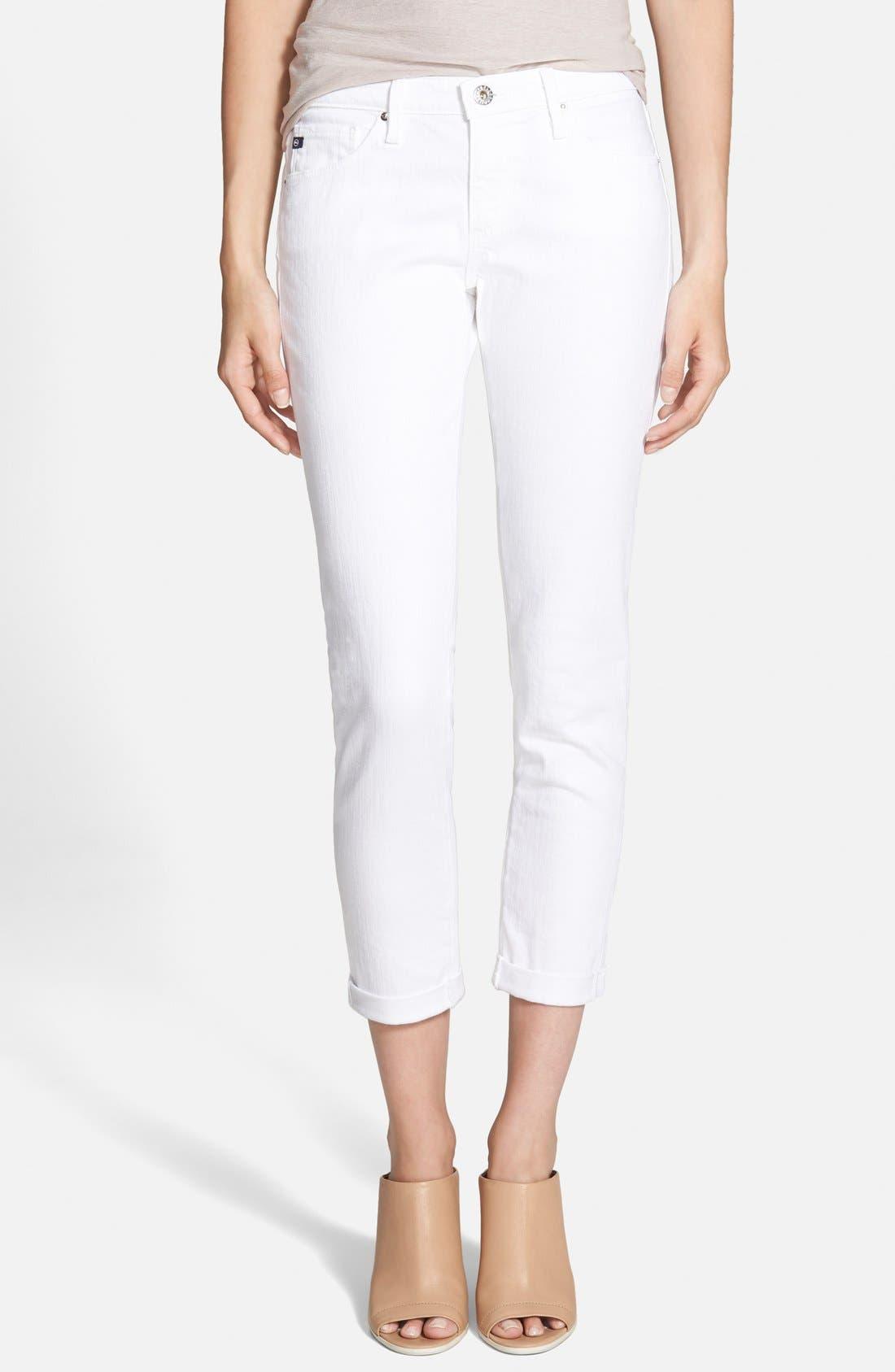 Main Image - AG 'Stilt' Roll Cuff Skinny Jeans (White)