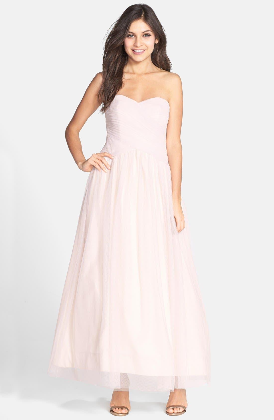 Main Image - Monique Lhuillier Bridesmaids Tulle Tea Length Dress