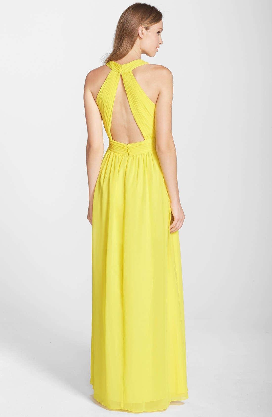 Alternate Image 2  - Hailey by Adrianna Papell Ruched Cutout Chiffon Gown