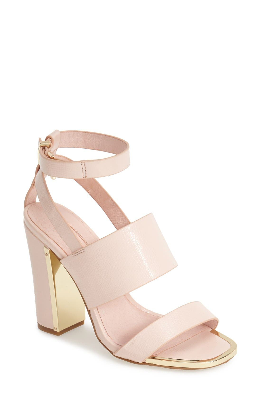 Main Image - Topshop 'Riot' Lizard Embossed Ankle Strap Sandals (Women)