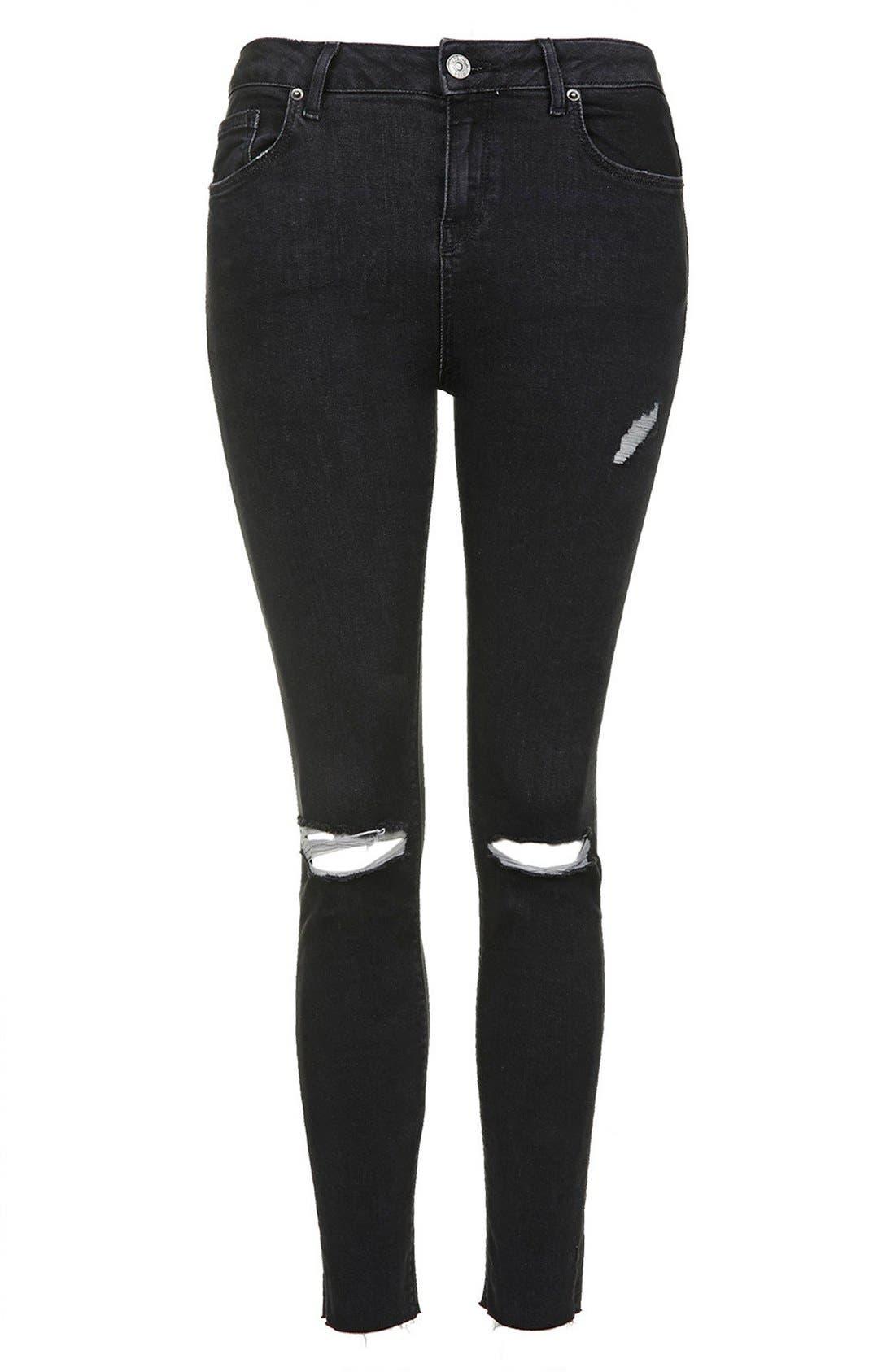 Alternate Image 3  - Topshop 'Jamie' Ripped Skinny Jeans (Black) (Petite)
