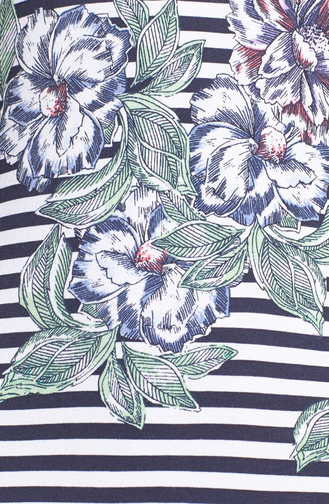 Alternate Image 4  - French Connection 'Bonita' Stripe Floral Body-Con Dress