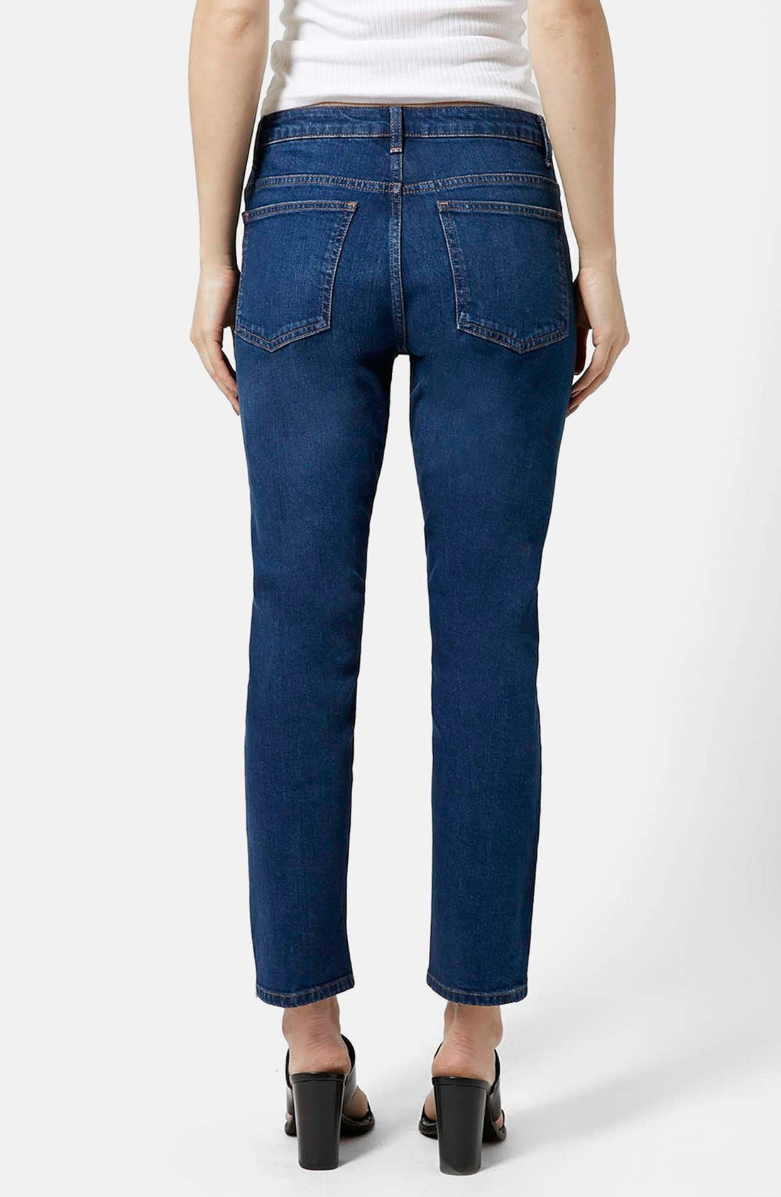 Alternate Image 2  - Topshop Moto Indigo Girlfriend Jeans (Navy Blue)