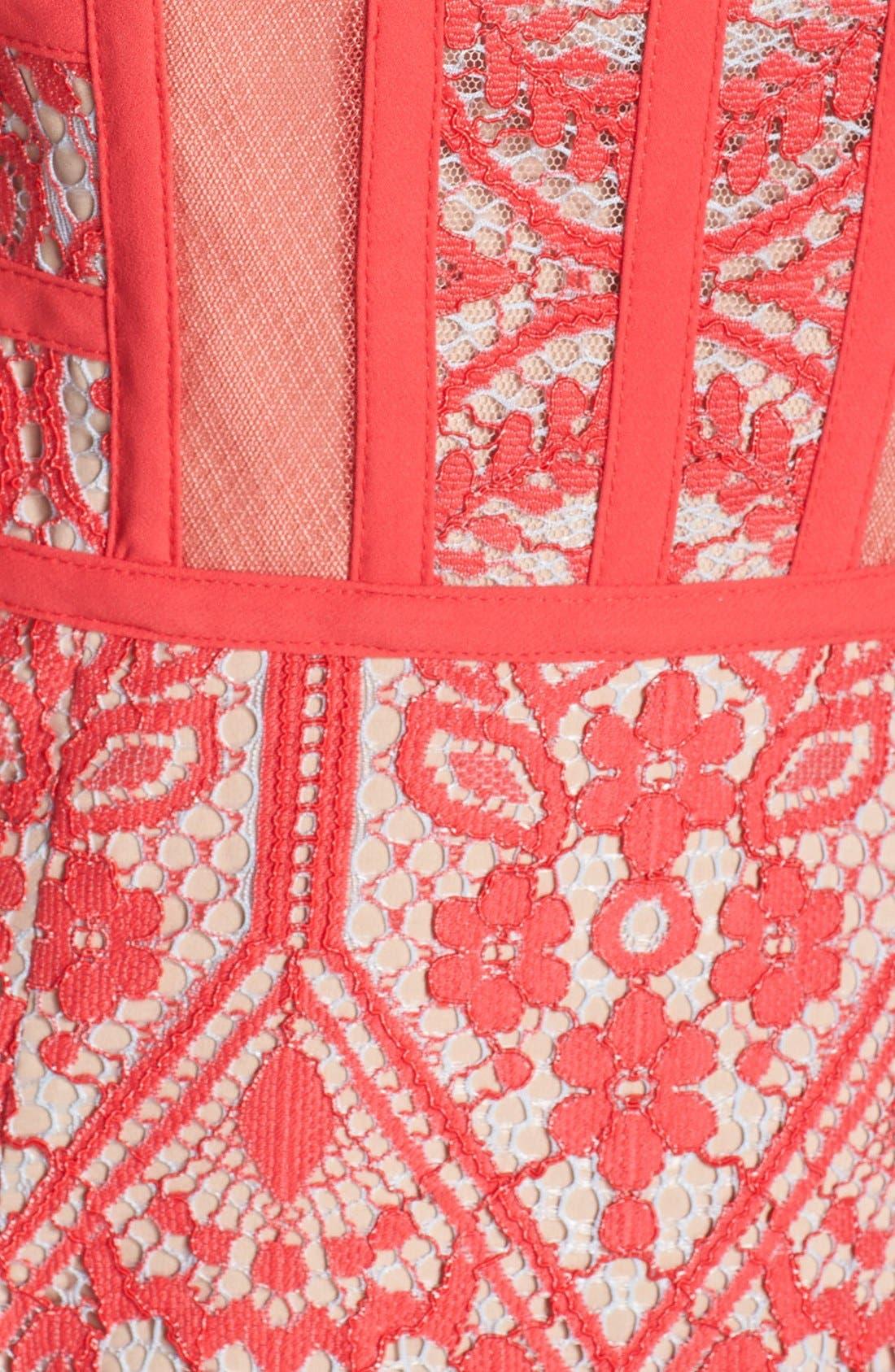 Alternate Image 4  - BCBGMAXAZRIA 'Shira' Knit Lace Fit & Flare Dress