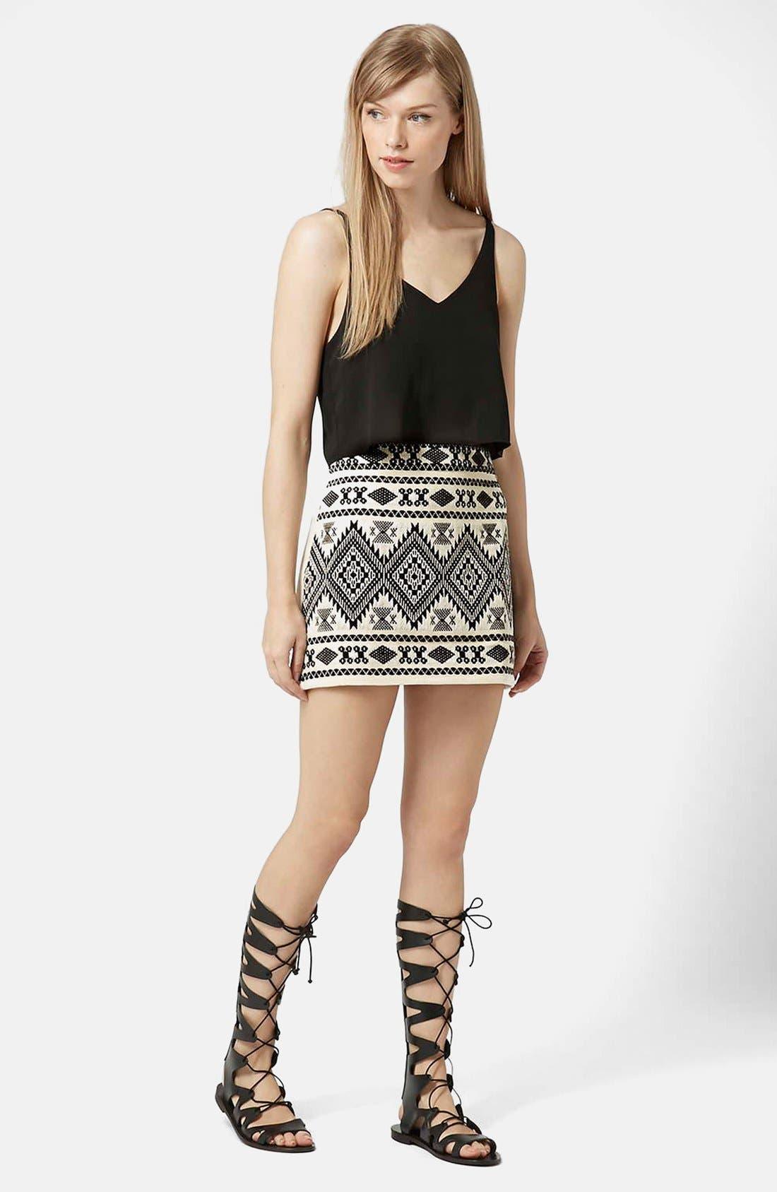 Alternate Image 5  - Topshop Blanket A-Line Miniskirt (Petite)