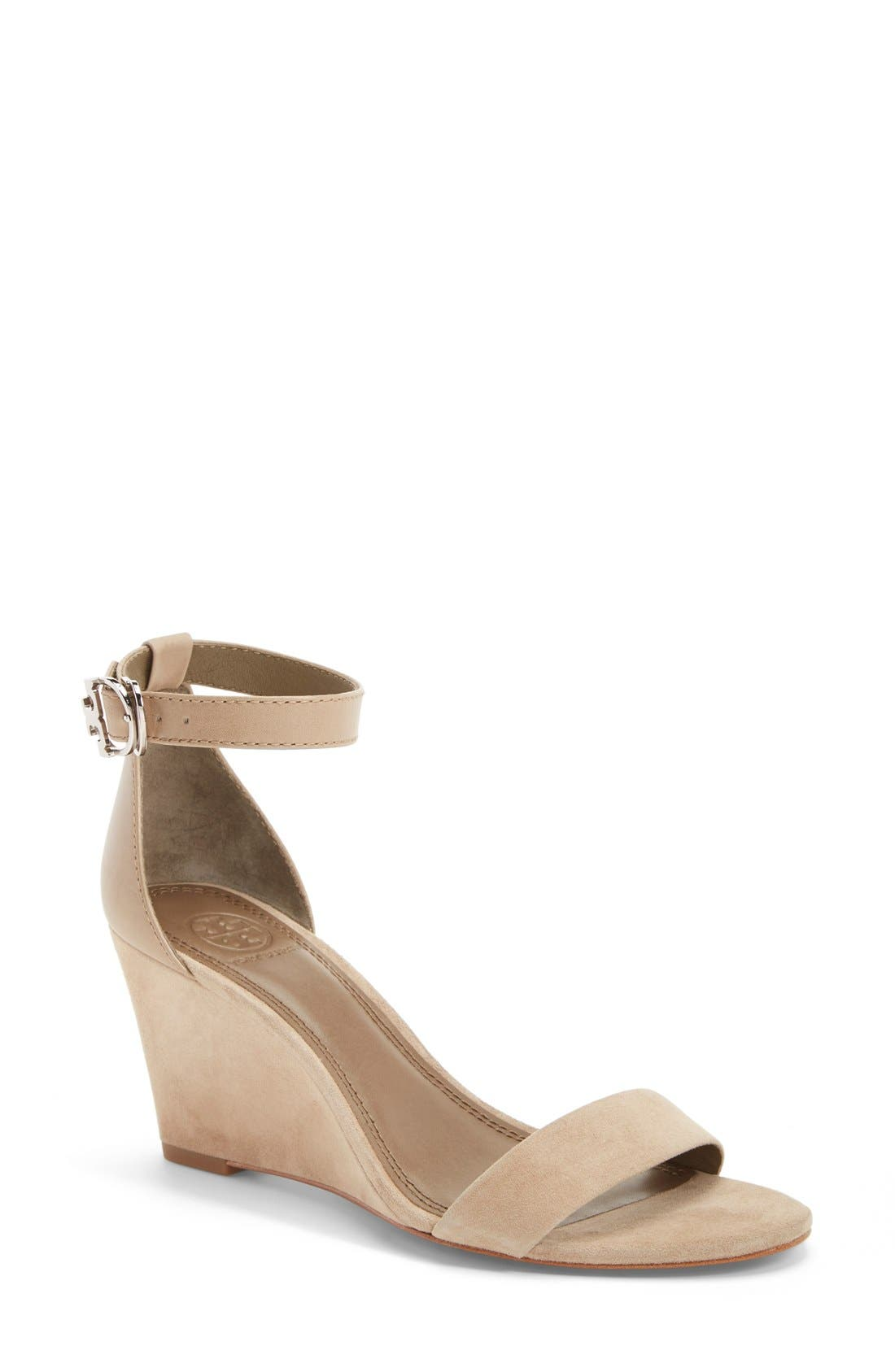 Alternate Image 1 Selected - Tory Burch 'Thames' Ankle Strap Wedge Sandal (Women)