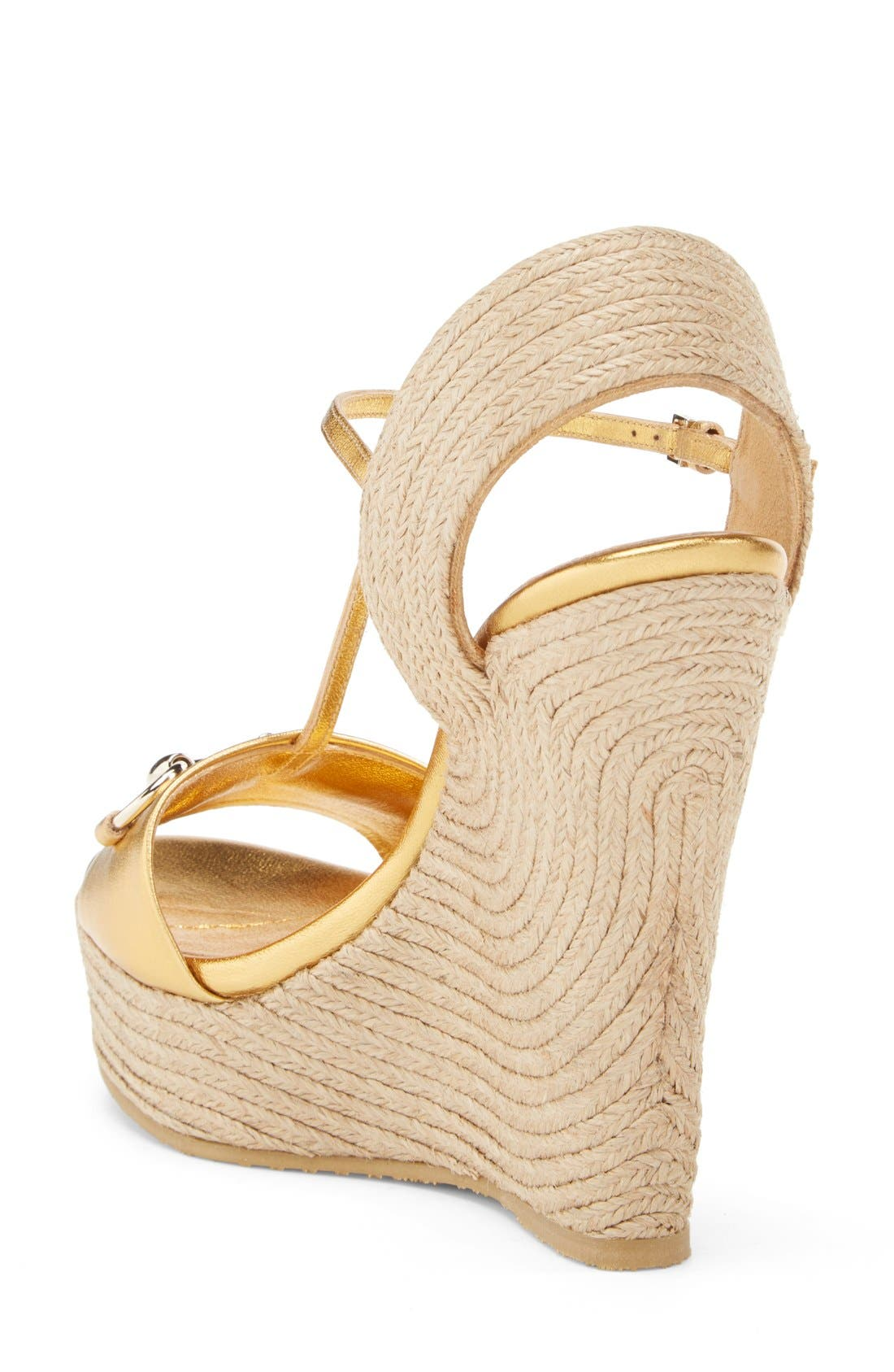 Alternate Image 2  - Gucci 'Rafia' T-Strap Wedge Sandal (Women)