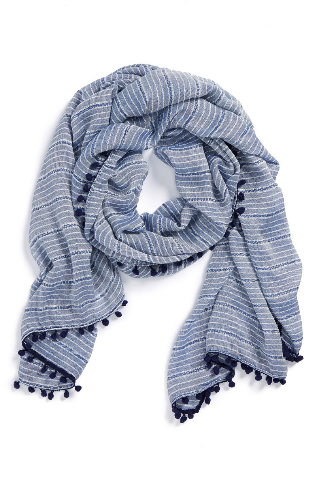 Alternate Image 1 Selected - Halogen® 'Sparkle Stripe' Pompom Trim Scarf