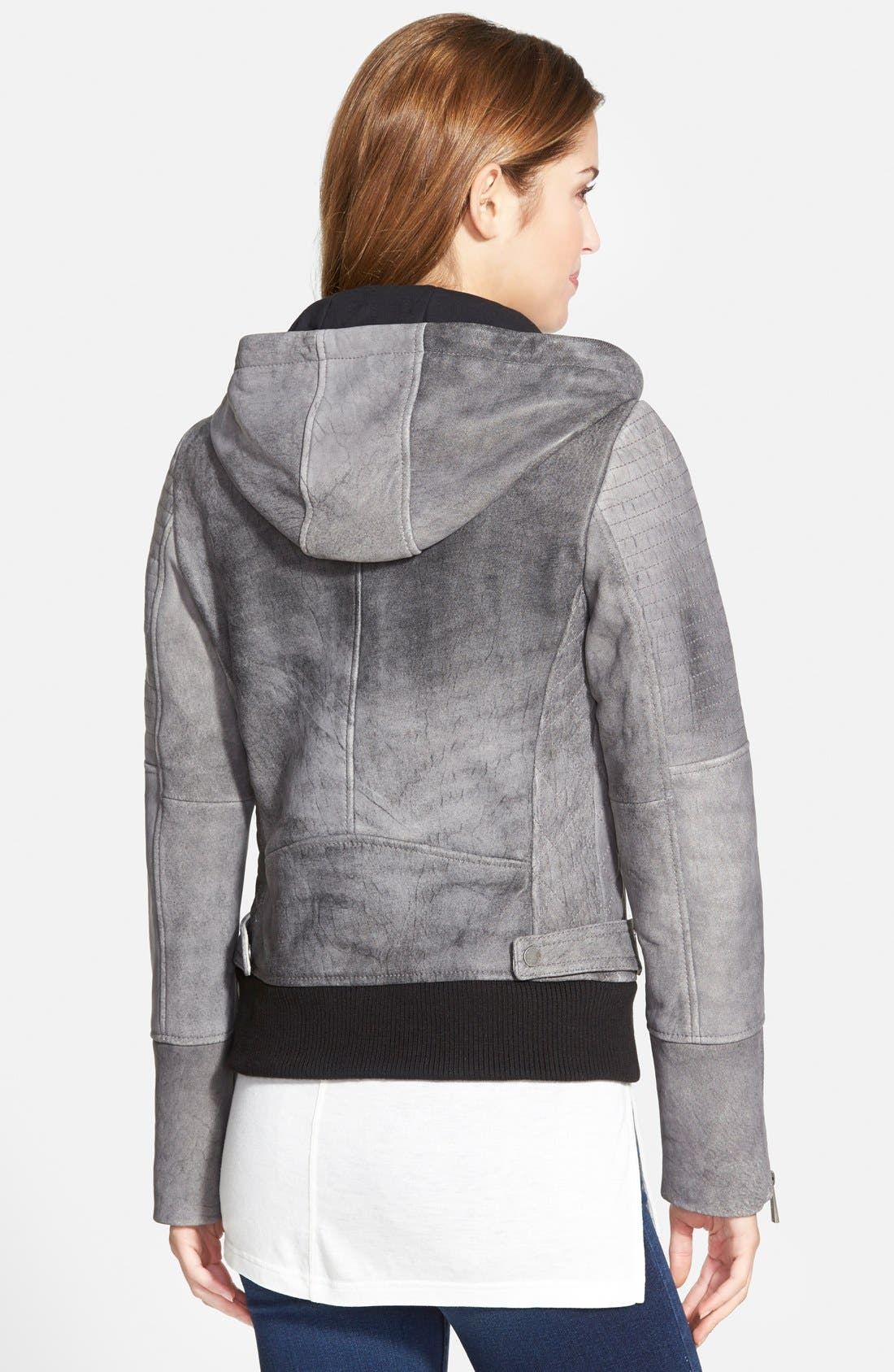 Alternate Image 2  - MICHAEL Michael Kors Hooded Distressed Leather Bomber Jacket