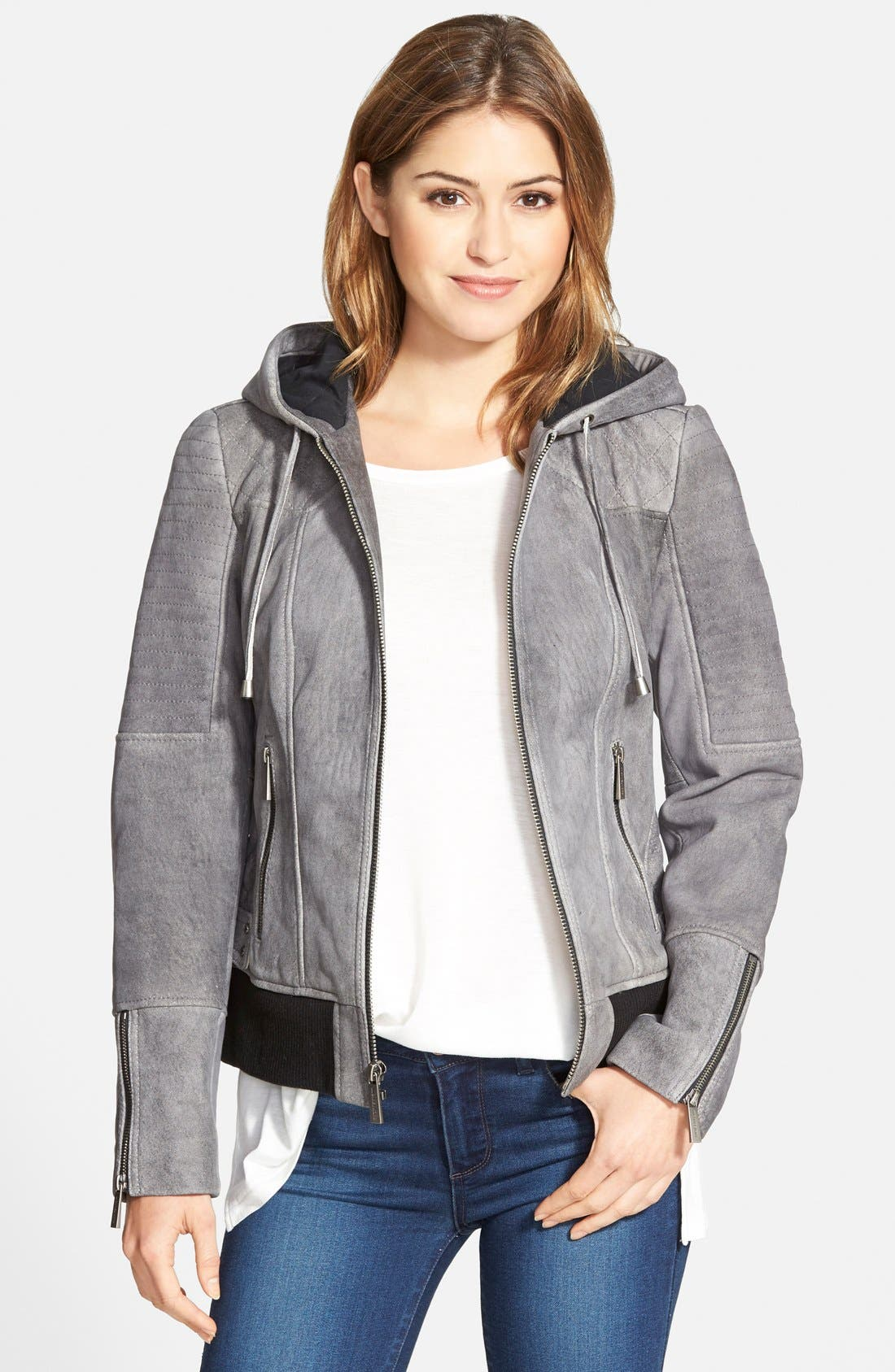 Alternate Image 1 Selected - MICHAEL Michael Kors Hooded Distressed Leather Bomber Jacket