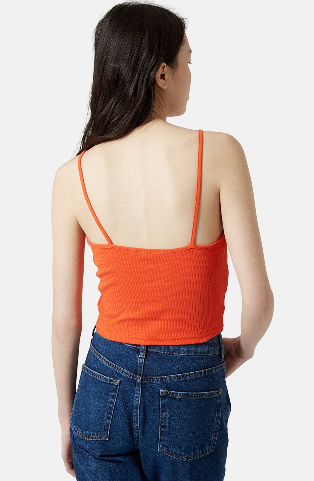 Alternate Image 2  - Topshop Ribbed Crop Camisole