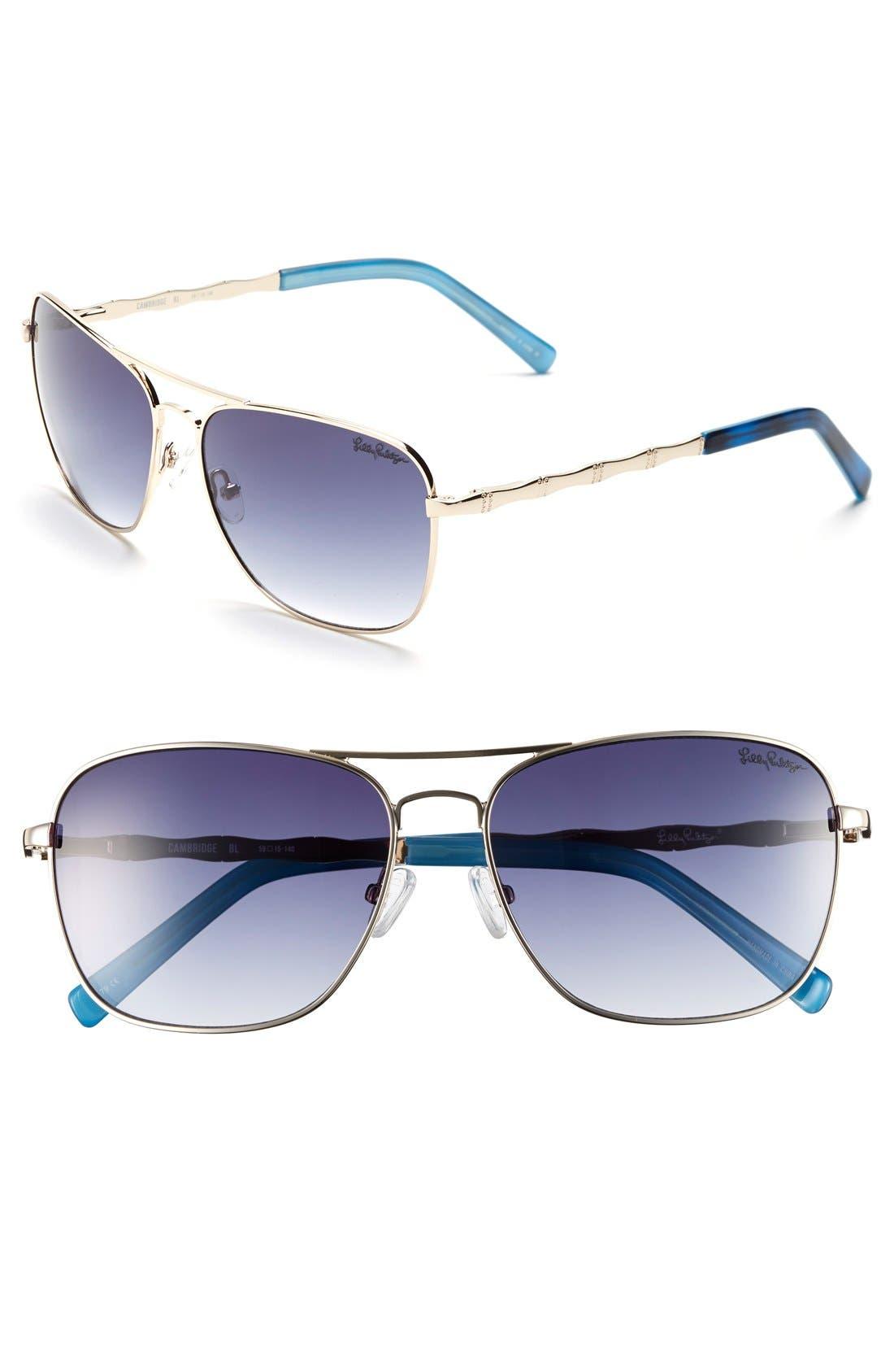 Lilly Pulitzer® 'Cambridge' 59mm Aviator Sunglasses