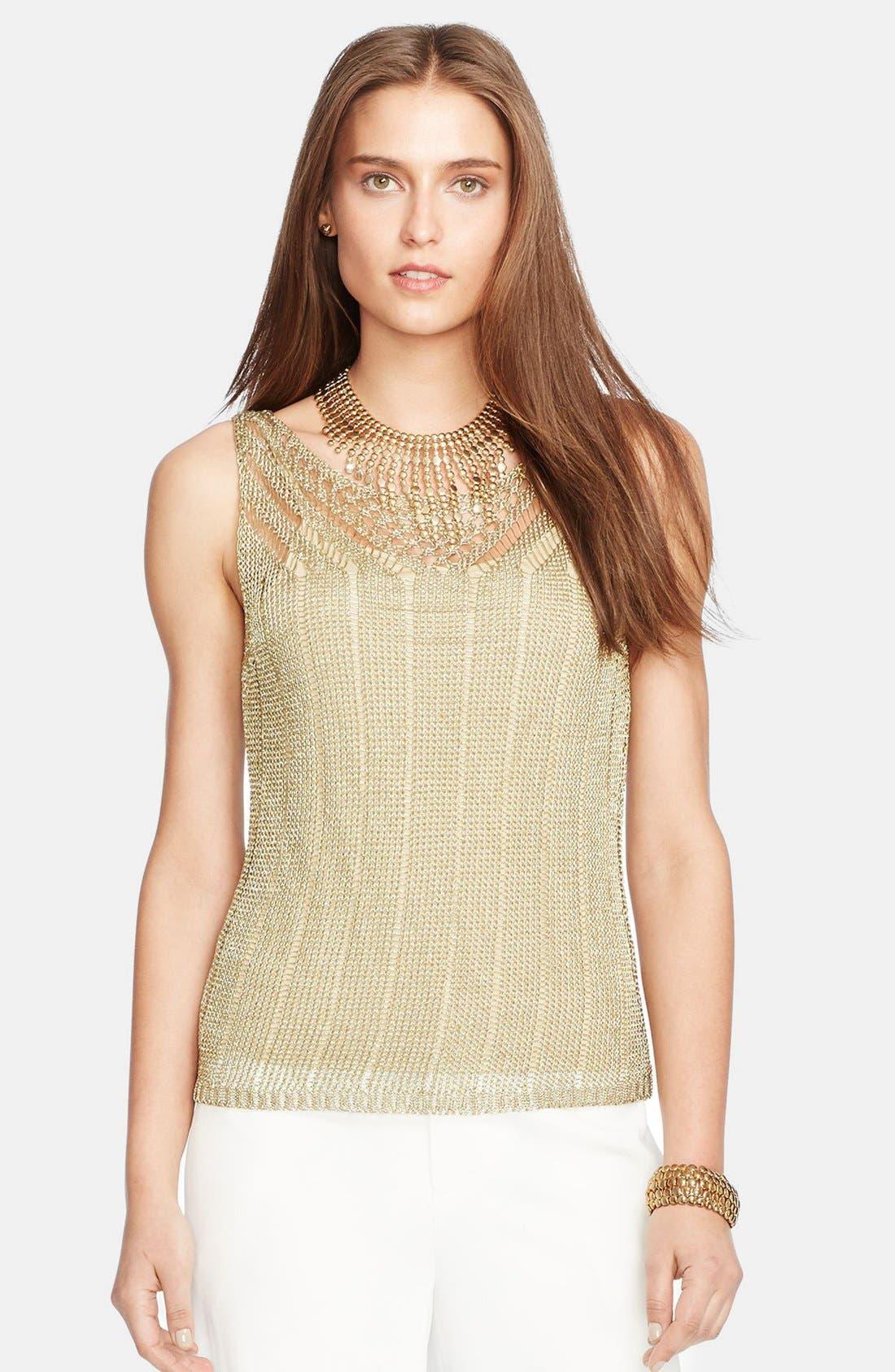 Alternate Image 1 Selected - Lauren Ralph Lauren Sleeveless Metallic Pointelle Sweater