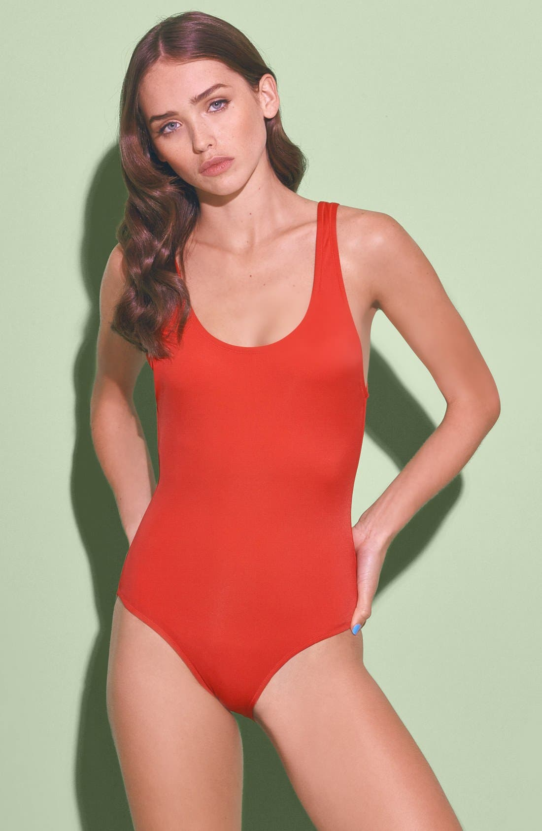Main Image - Solid & Striped 'Anne-Marie' One Piece Swimsuit (Women)
