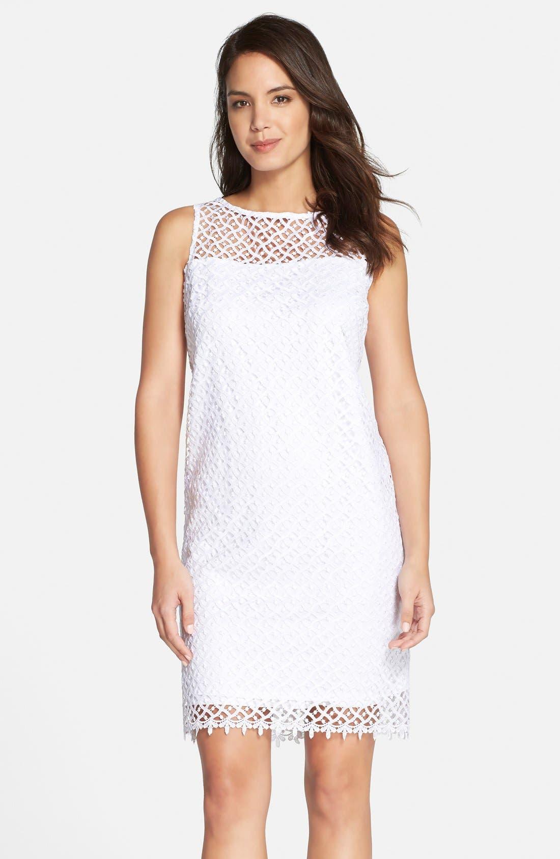 Main Image - Marina Illusion Yoke Lace Shift Dress