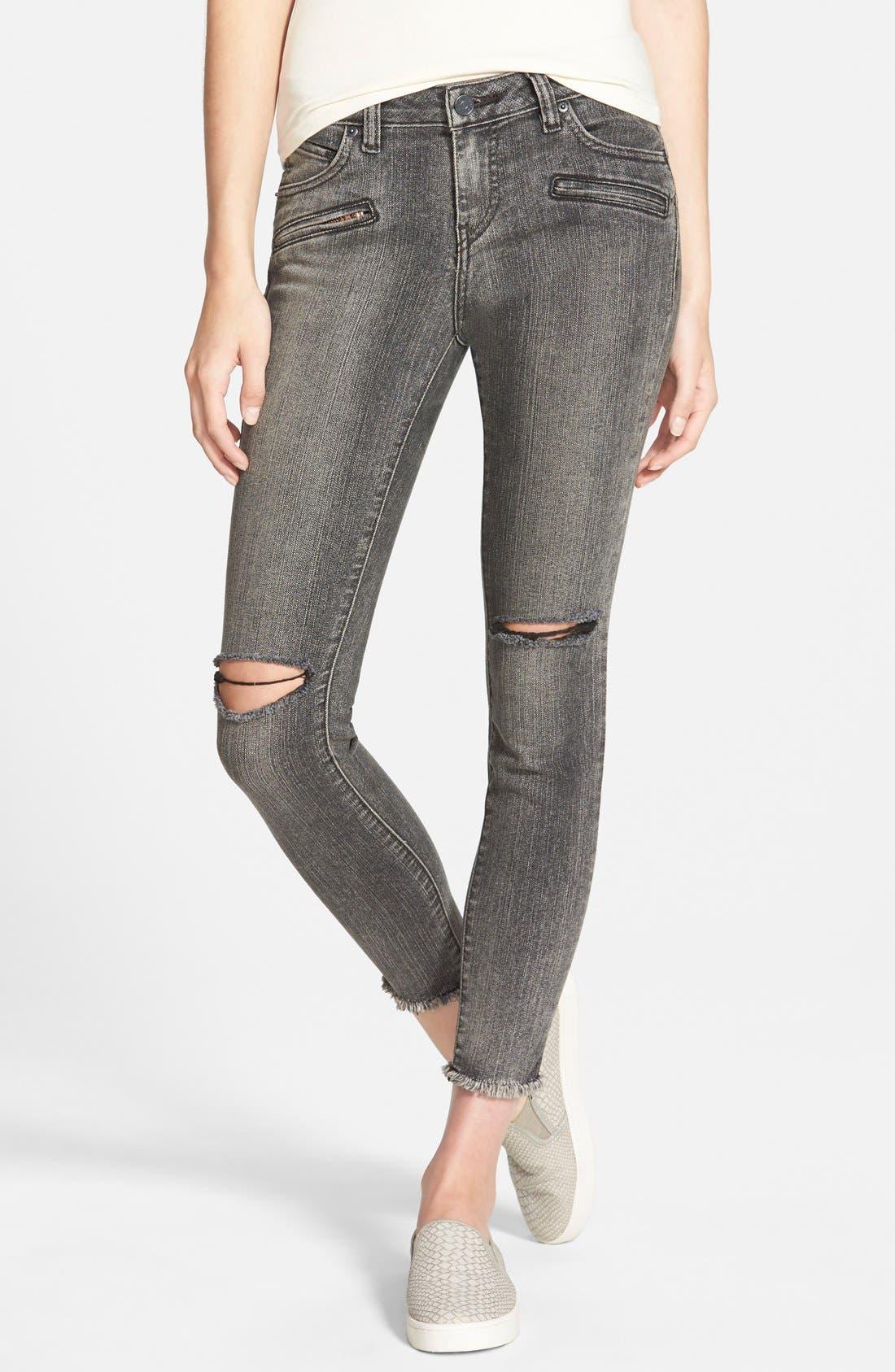Alternate Image 1 Selected - Volcom Destroyed Cropped Jeans (Gunmetal Grey)
