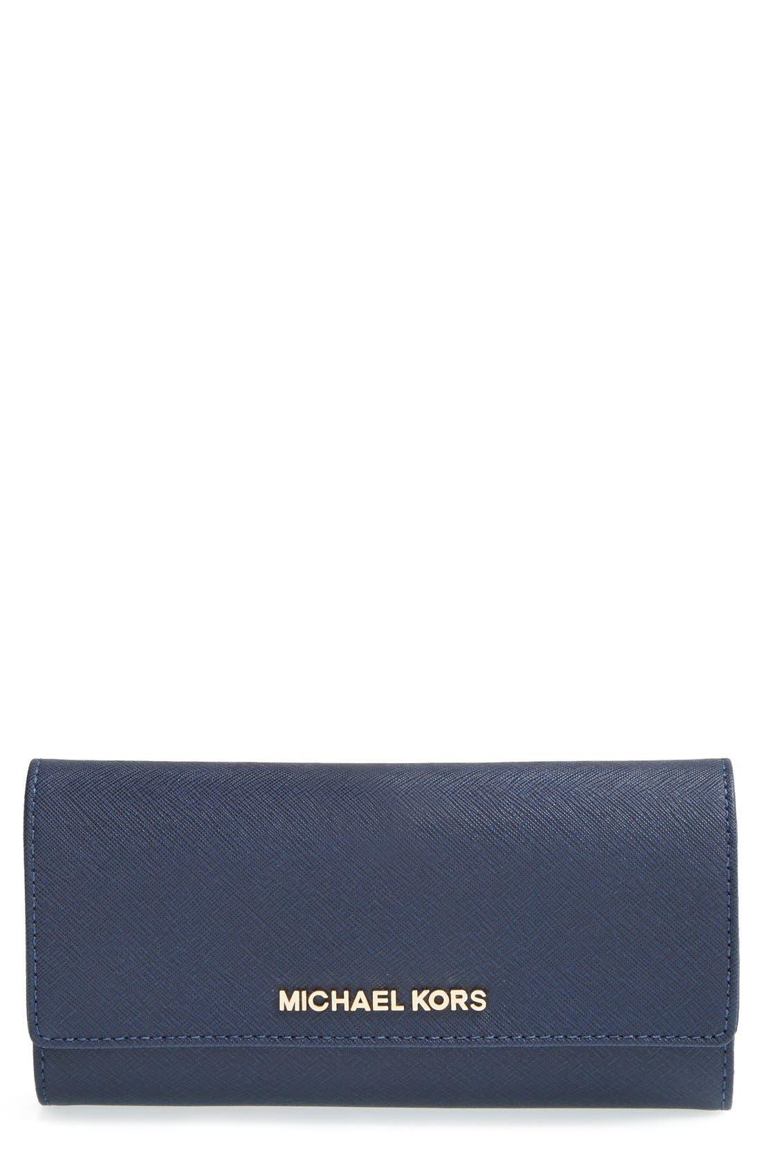 Main Image - MICHAEL Michael Kors 'Jet Set' Saffiano Leather Checkbook Wallet