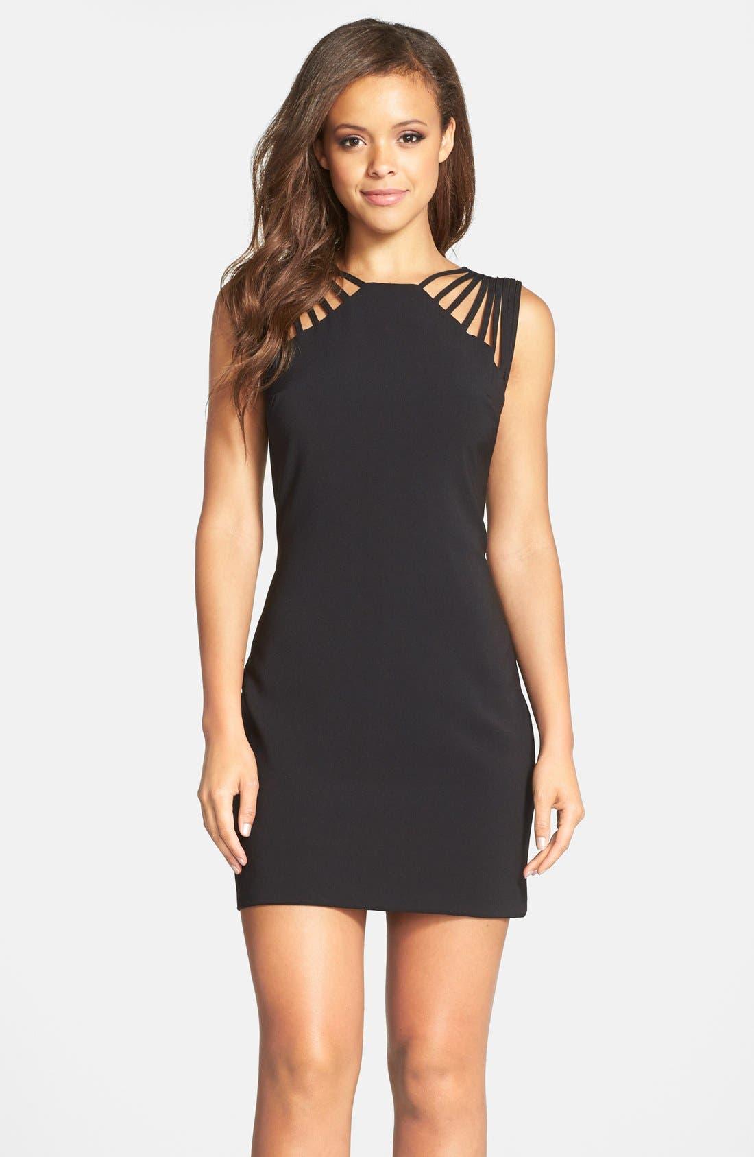 DRESS THE POPULATION 'Cora' Strappy Shoulder Sheath Dress