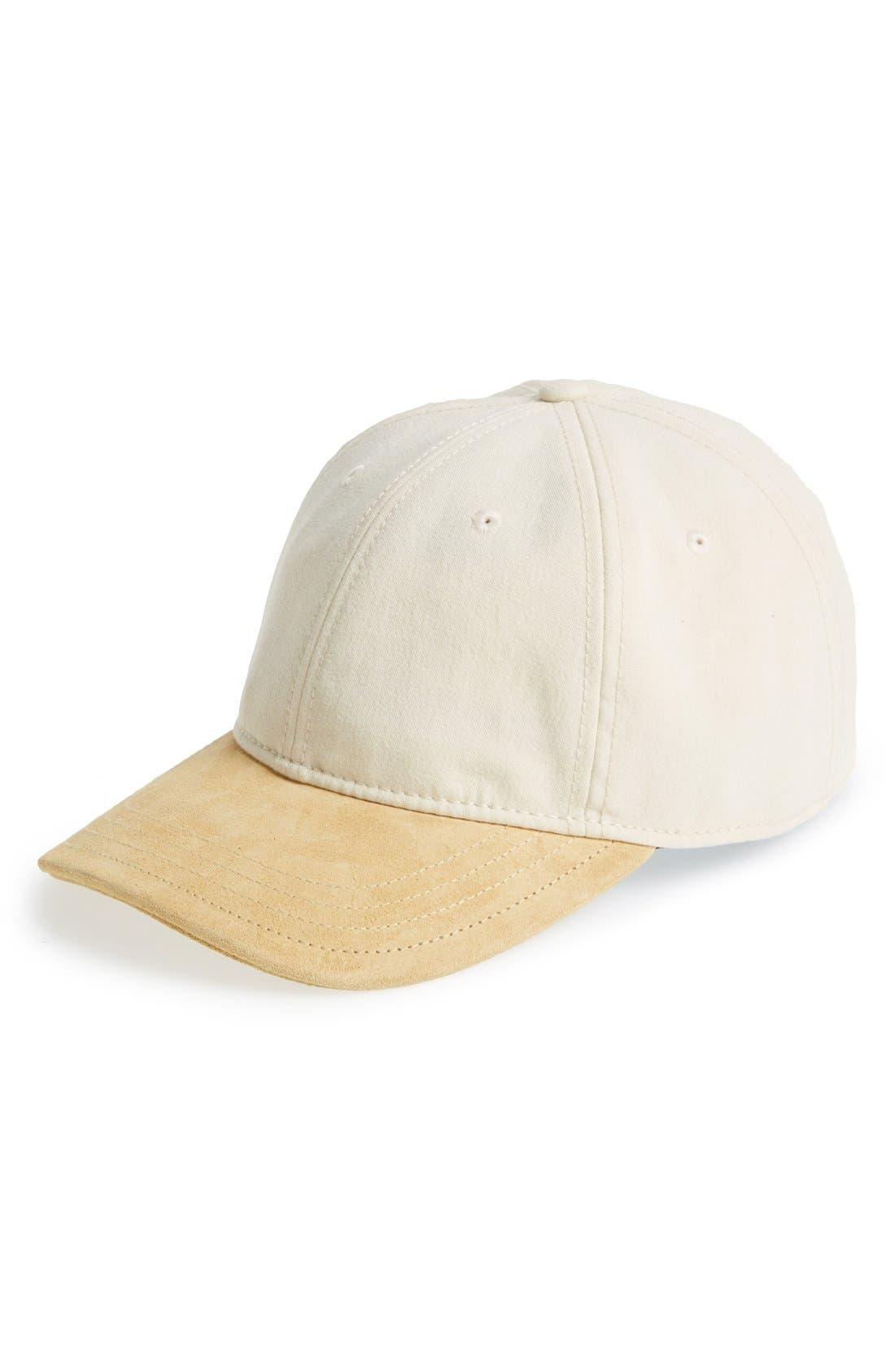 Main Image - rag & bone Leather Brim Adjustable Baseball Cap