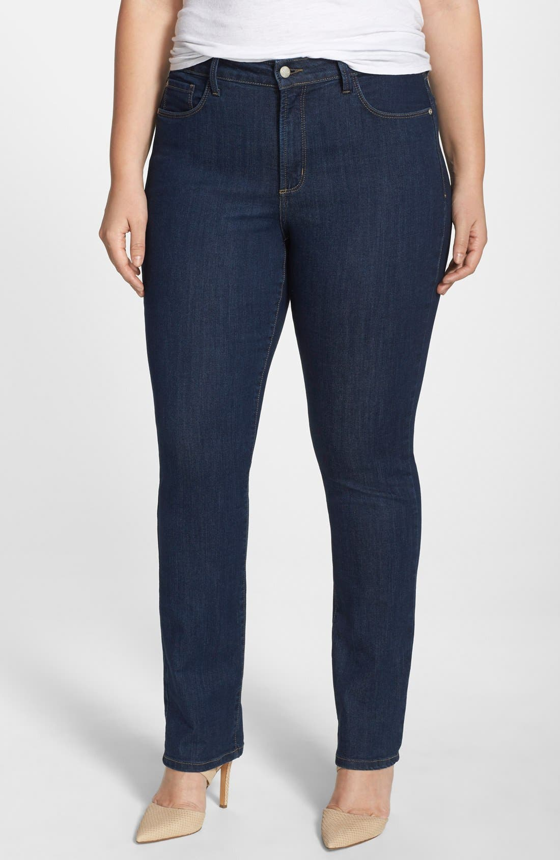 Alternate Image 1 Selected - NYDJ 'Samantha' Stretch Slim Straight Leg Jeans (Everett) (Plus Size)