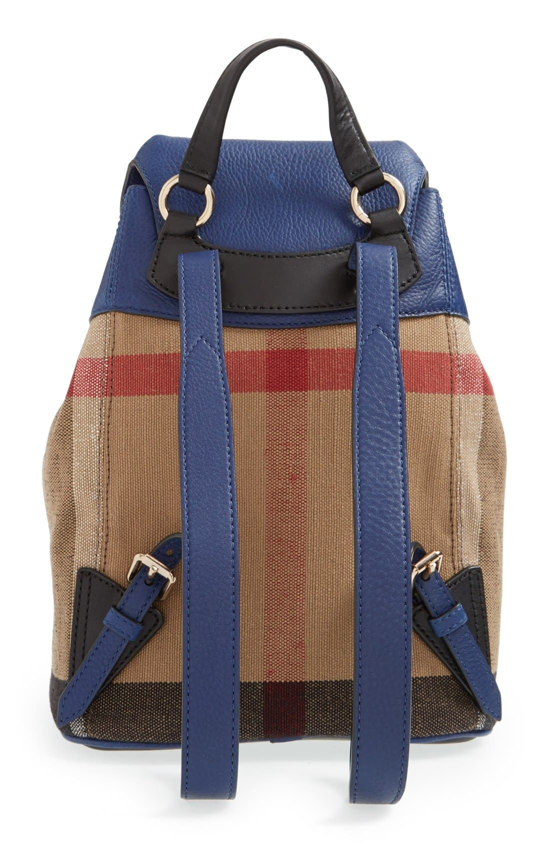 Alternate Image 2  - Burberry Check Print & Leather Mini Backpack (Kids)