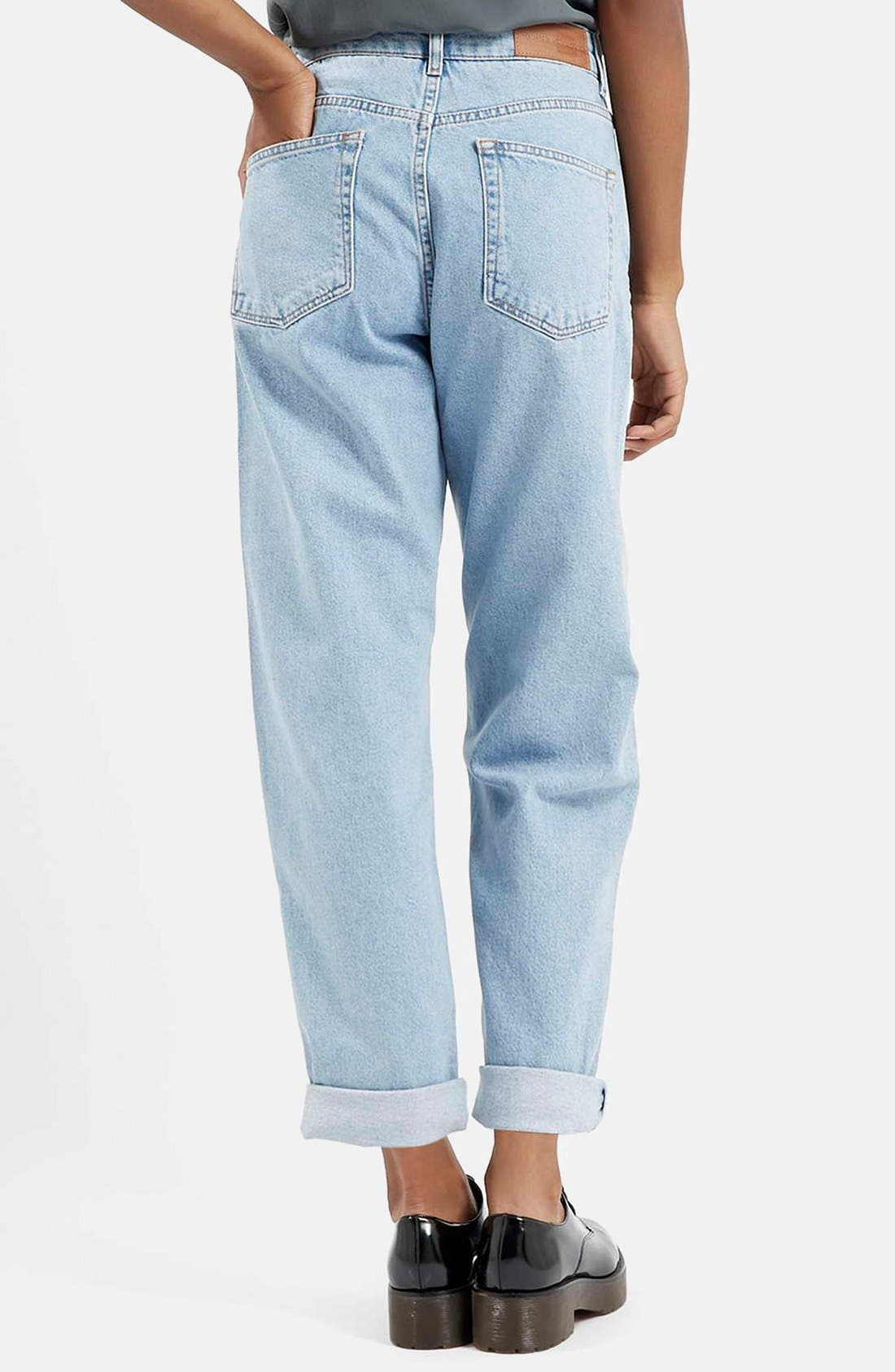Alternate Image 2  - Topshop Boutique Vintage Boyfriend Jeans (Blue)