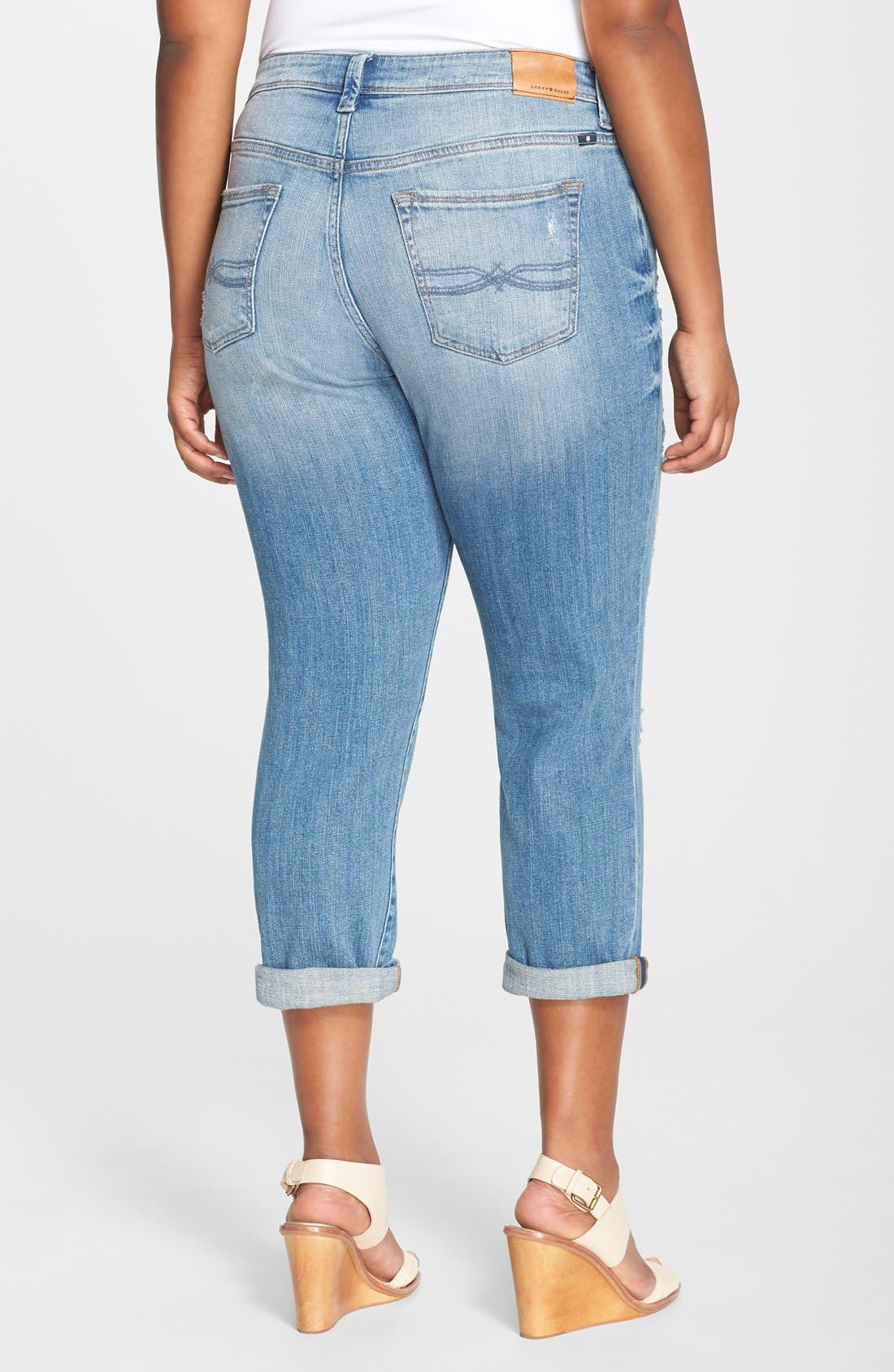 Alternate Image 3  - Lucky Brand 'Reese' Ripped Boyfriend Jeans (San Marcos) (Plus Size)