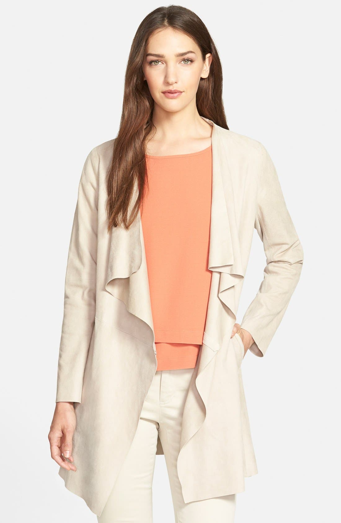 Main Image - Eileen Fisher Drape Front Soft Suede Jacket