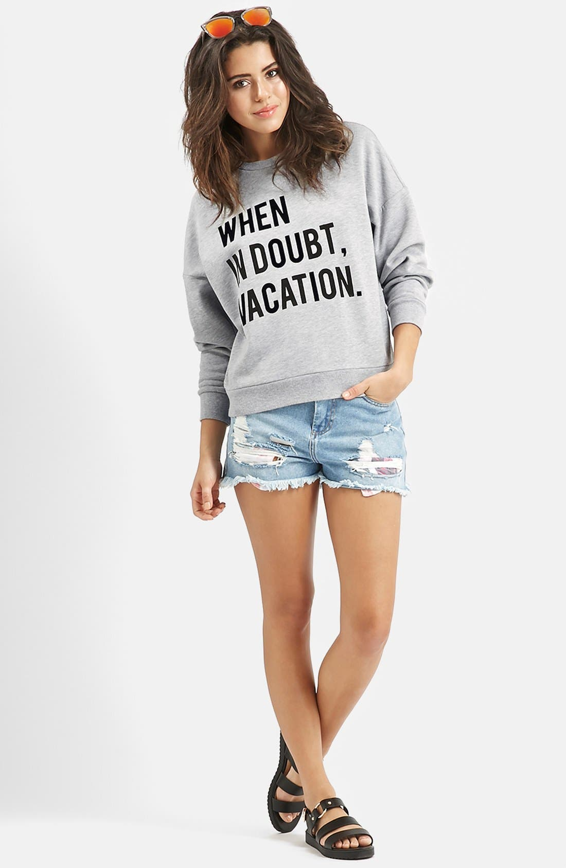 Alternate Image 6  - KENDALL + KYLIE at Topshop 'When in Doubt, Vacation' Crewneck Pullover