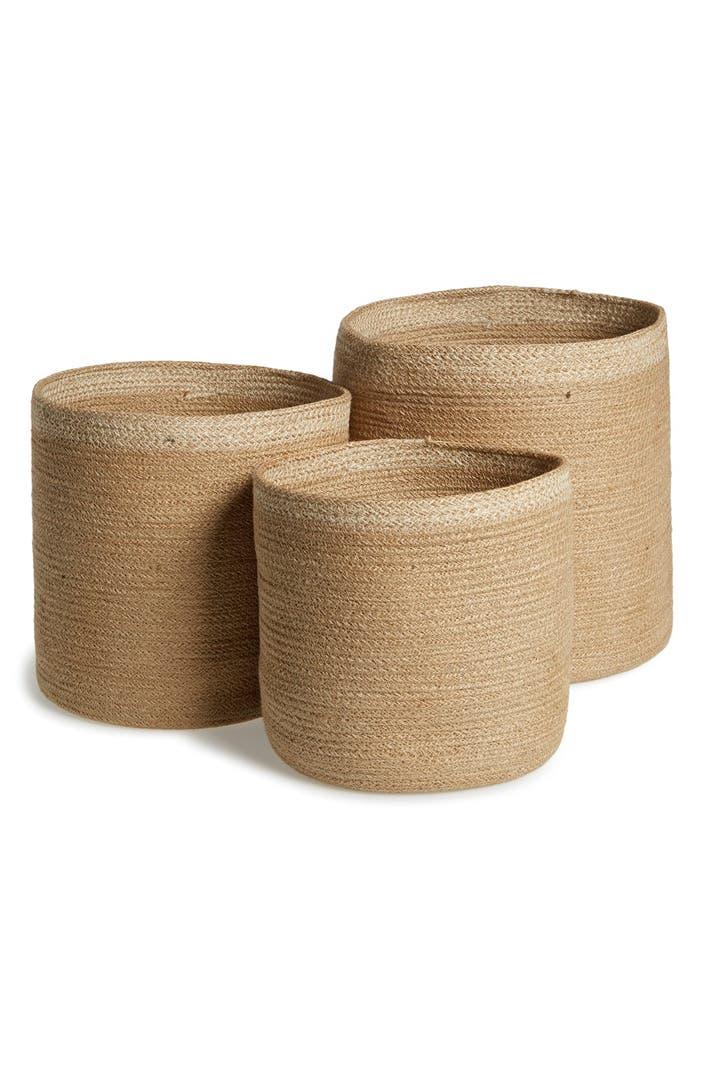 Handmade Jute Baskets : Am home textiles handmade jute storage baskets set of