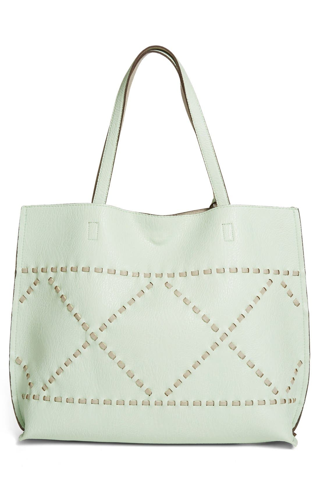 Alternate Image 3  - Street Level Reversible Woven Faux Leather Tote