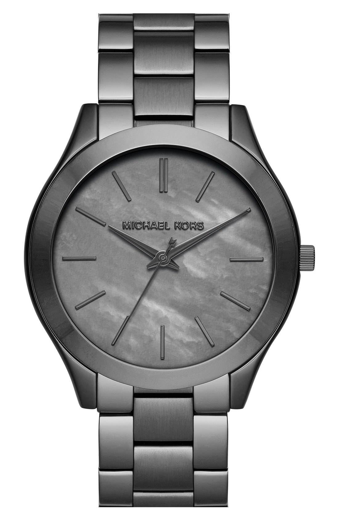 Alternate Image 1 Selected - Michael Kors 'Slim Runway' Mop Dial Bracelet Watch, 42mm