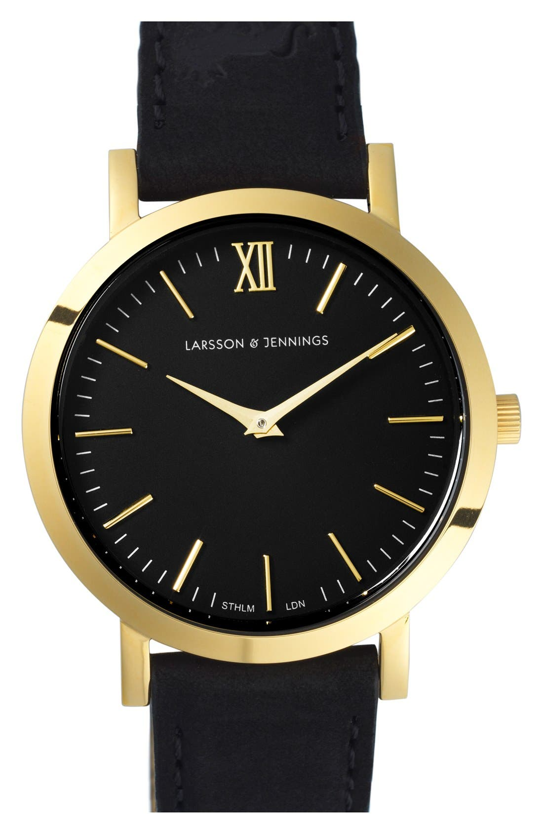 LARSSON & JENNINGS 'Lugano' Leather Strap Watch, 33mm