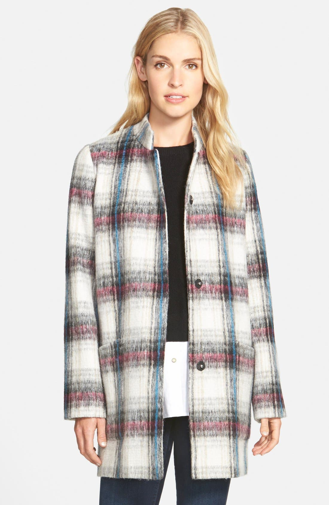 Main Image - Kenneth Cole New York Drop Shoulder Plaid Wool Blend Coat