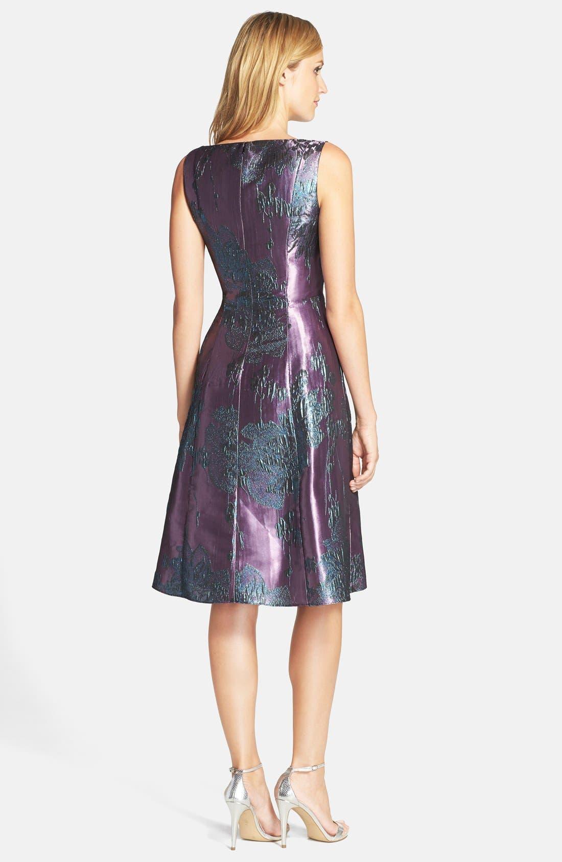 Alternate Image 2  - Adrianna Papell Metallic Jacquard Fit & Flare Dress (Regular & Petite)
