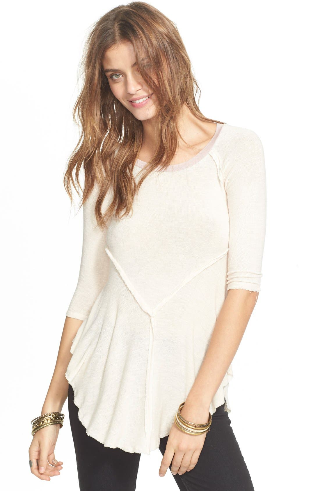 Main Image - Free People 'Weekends' Lightweight Raw Edge Top