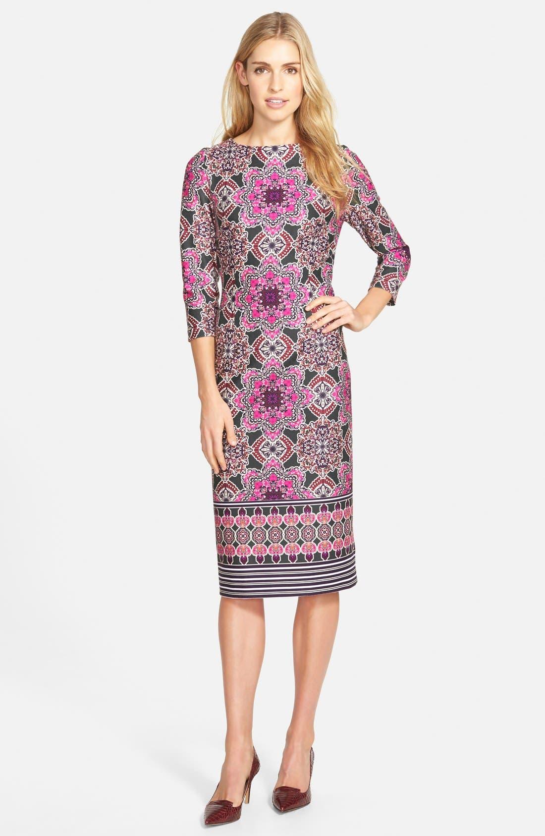 Alternate Image 3  - Eliza J Print Ponte Midi Sheath Dress
