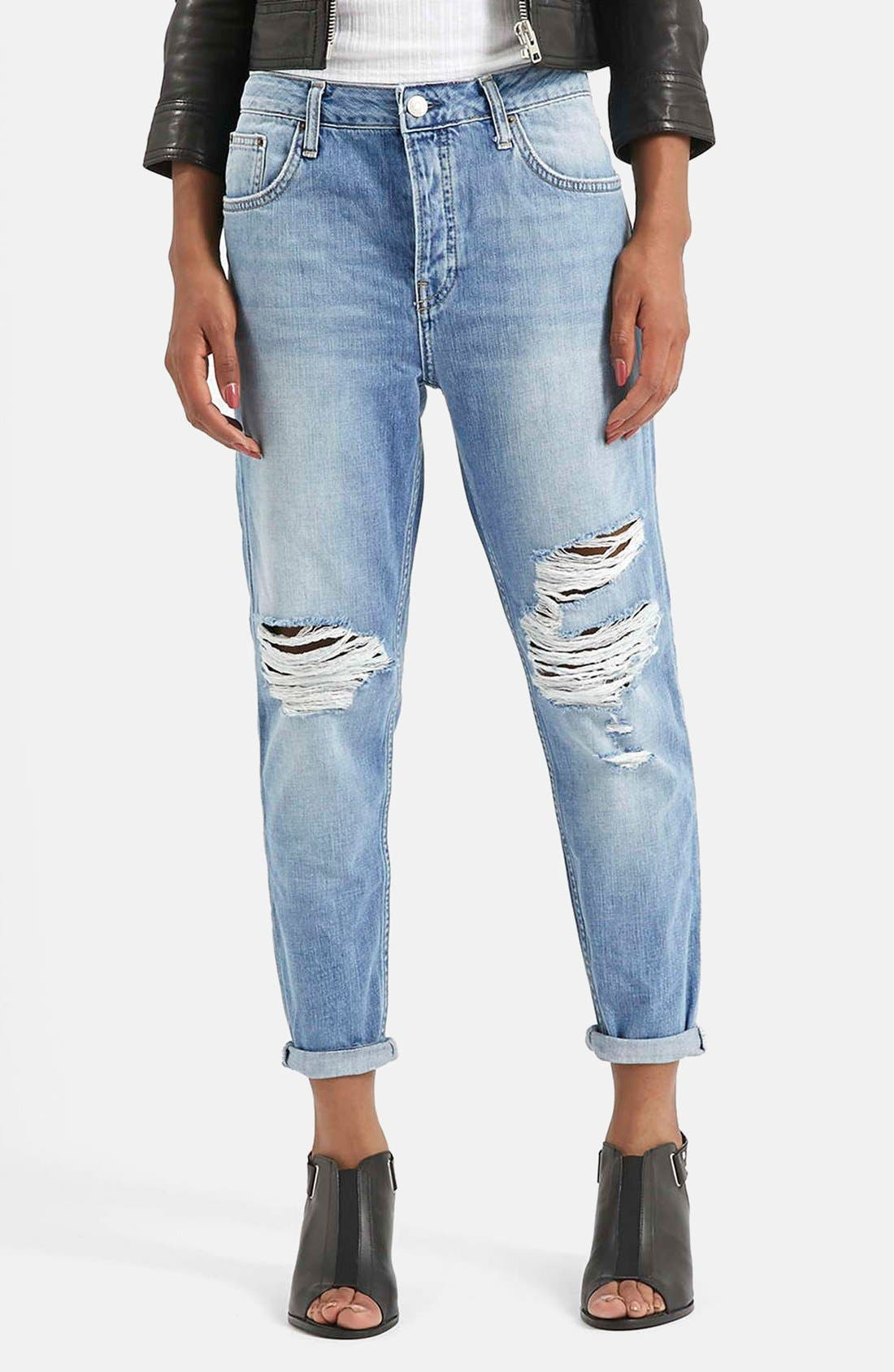 Main Image - Topshop Moto 'Hayden' Ripped Boyfriend Jeans (Blue)