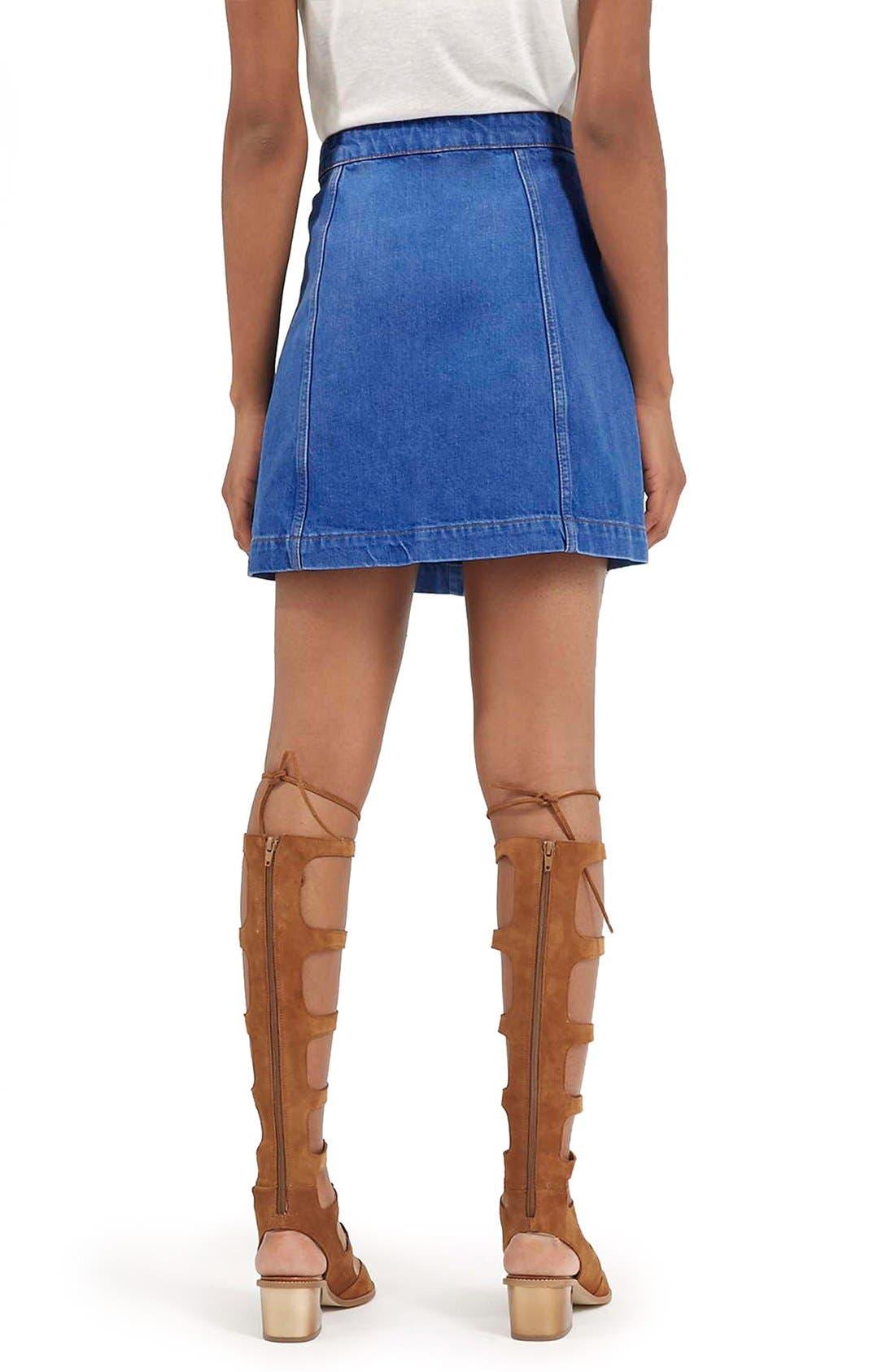 Alternate Image 3  - Topshop Moto Button Front A-Line Skirt (Bright Blue)