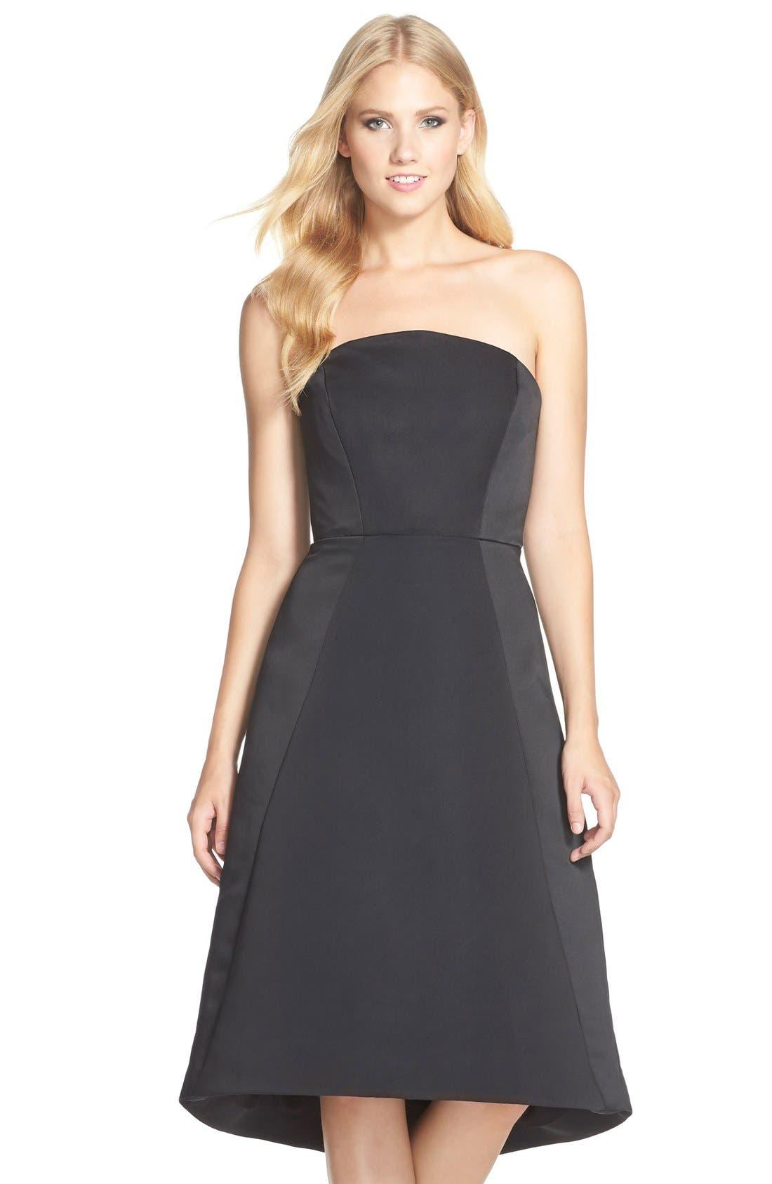 Alternate Image 1 Selected - HalstonHeritage Strapless Satin Fit & Flare Dress