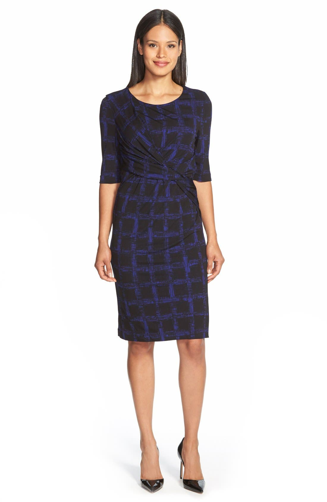 Main Image - BOSS 'Empiria' Windowpane Print Jersey Sheath Dress