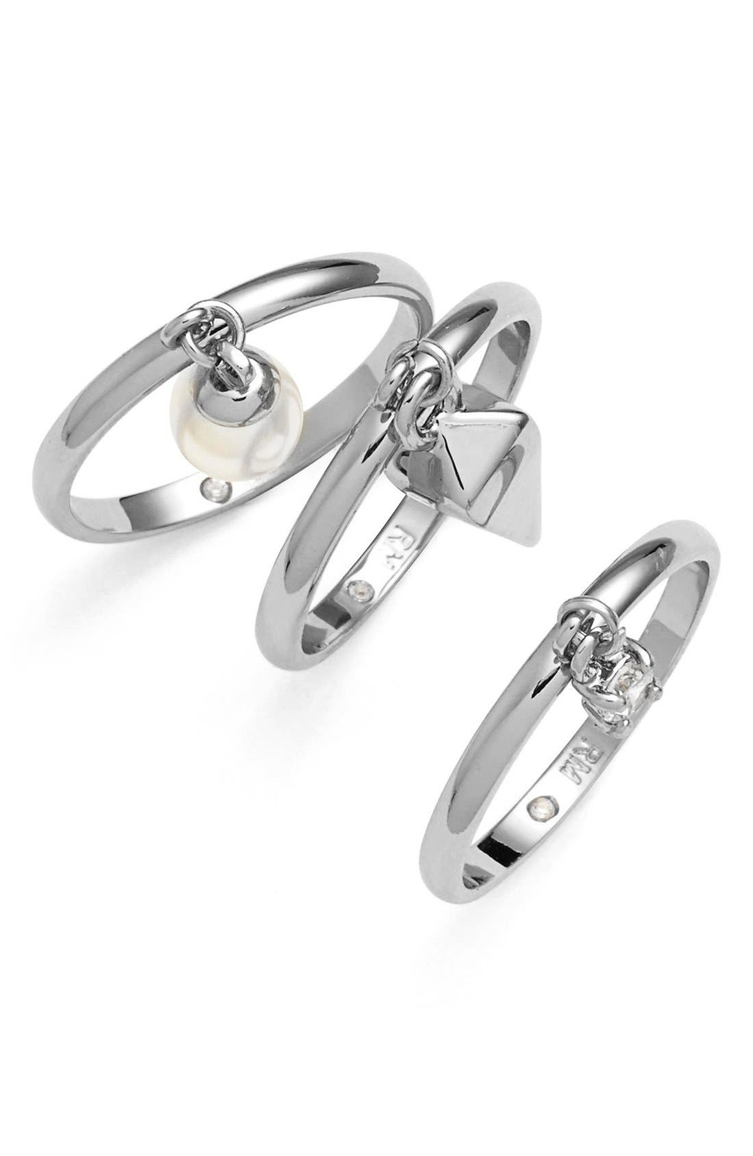 Main Image - Rebecca Minkoff 'Jewel Box' Stackable Charm Rings (Set of 3)
