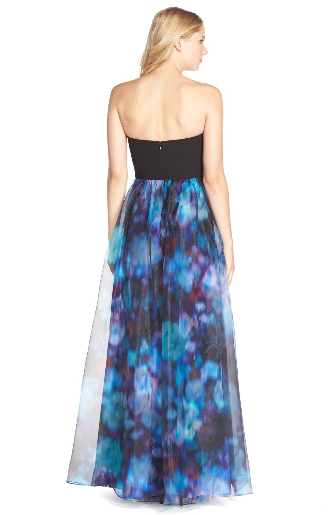 Alternate Image 2  - Aidan by Aidan Mattox Print Organza Gown