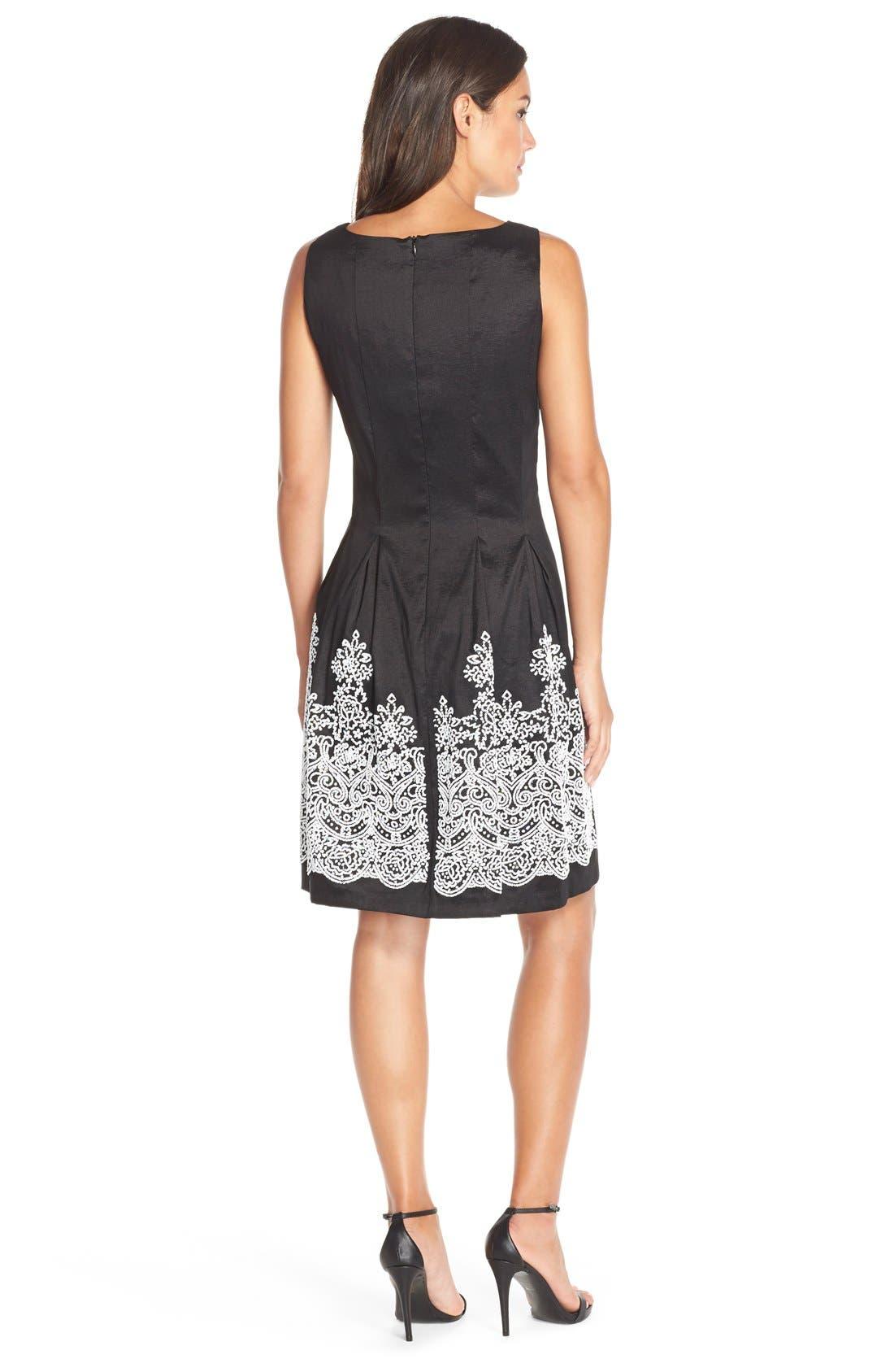 Alternate Image 2  - ChettaB Embellished Hem Taffeta Fit & Flare Dress