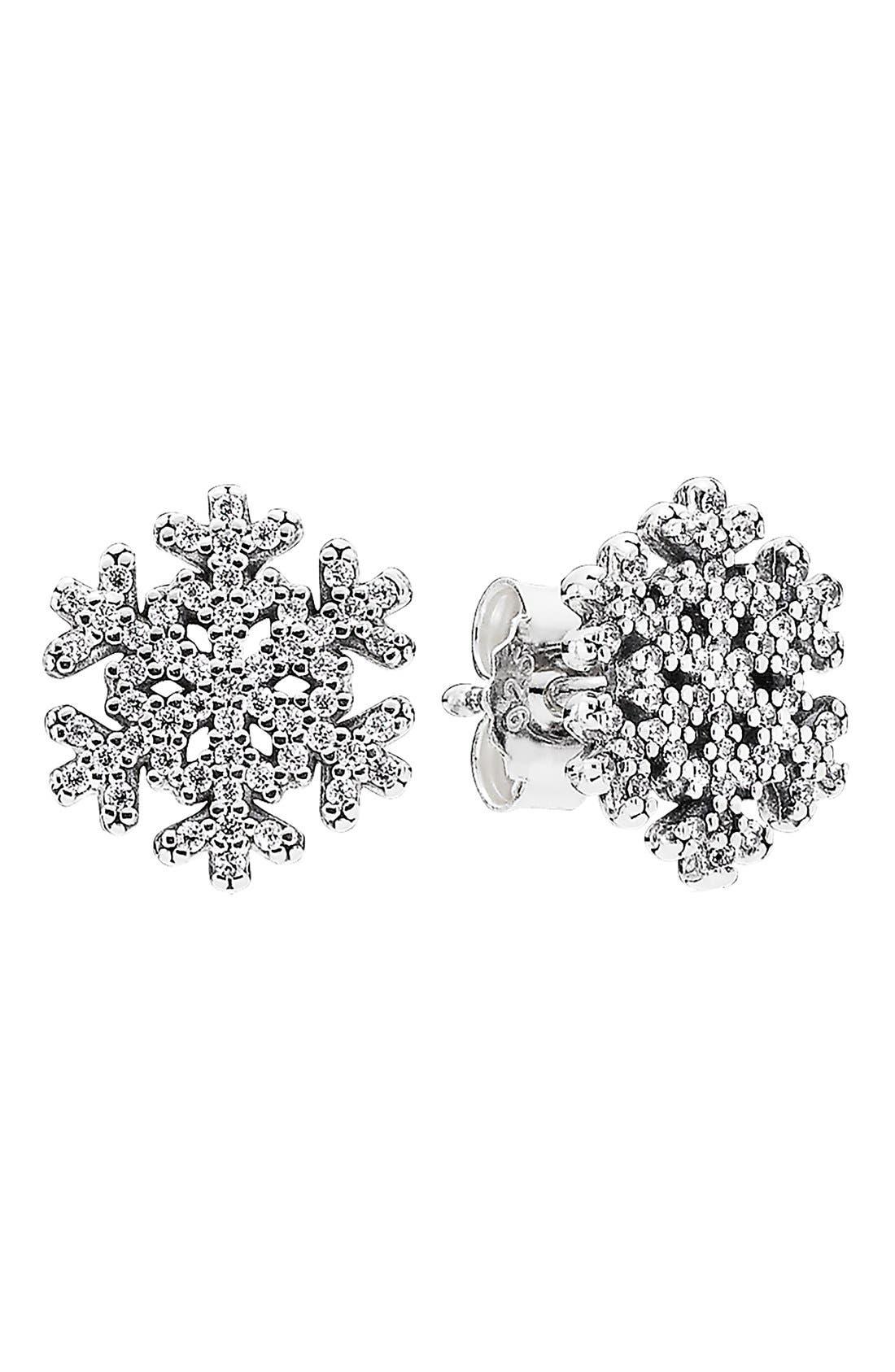 Alternate Image 1 Selected - PANDORA 'Snowflake' Cubic ZirconiaStud Earrings