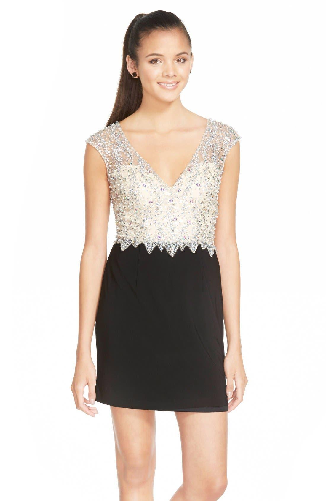 Main Image - Sean Collection Embellished Mesh & Jersey Minidress