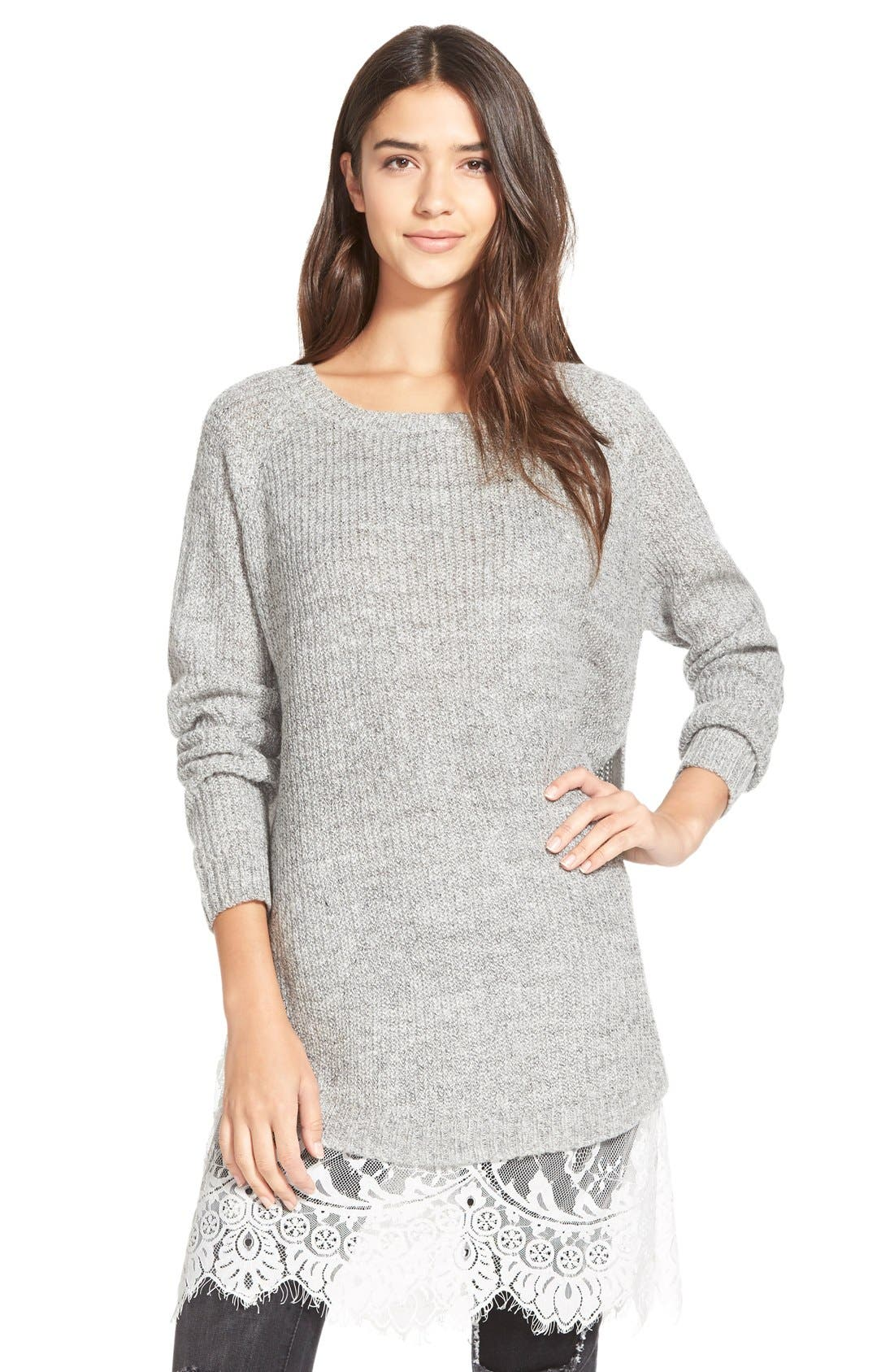 Alternate Image 1 Selected - Dreamers by Debut Lace Trim Pullover