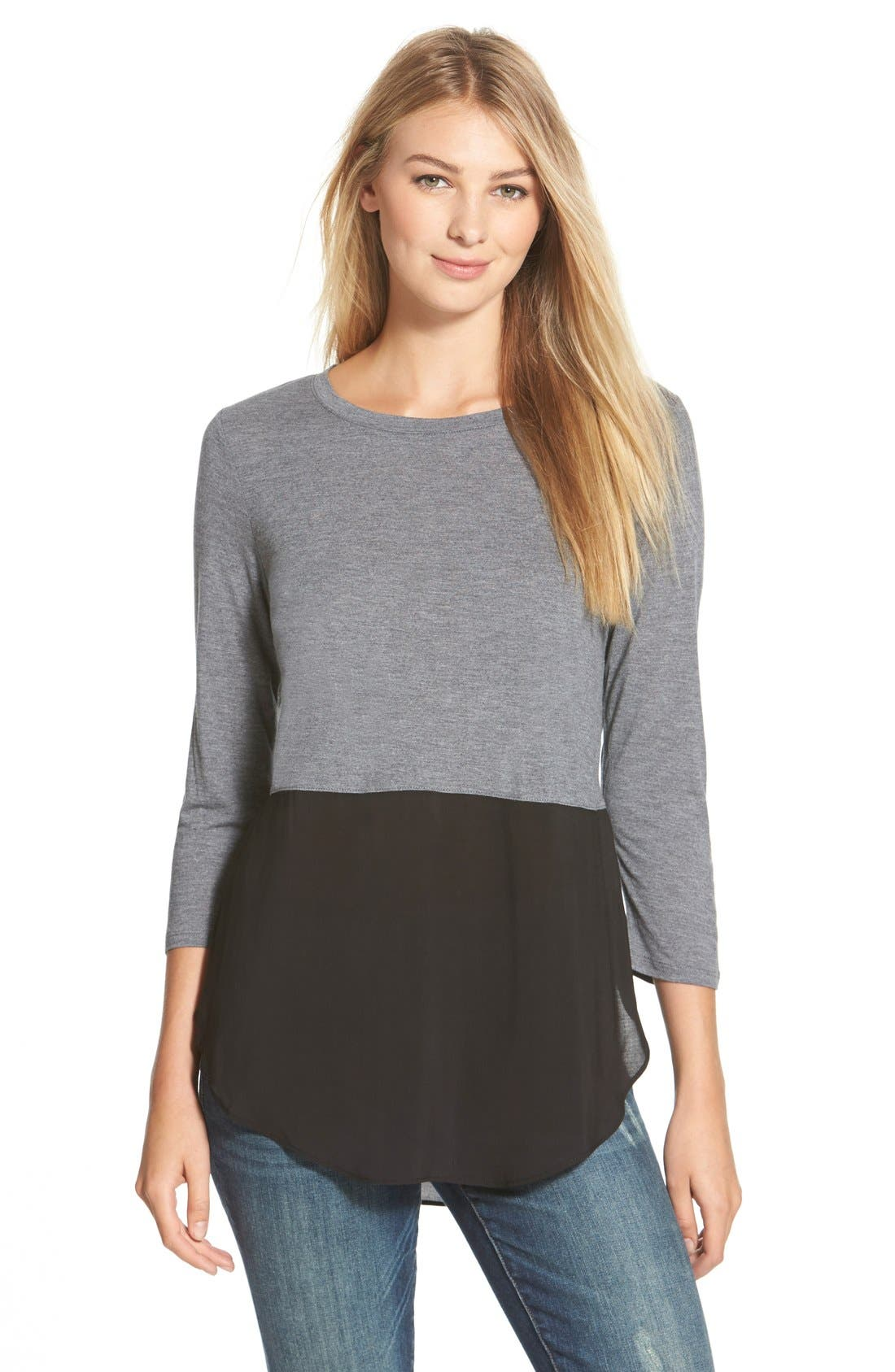 Main Image - Two by Vince Camuto Mixed Media Jewel Neck Tunic
