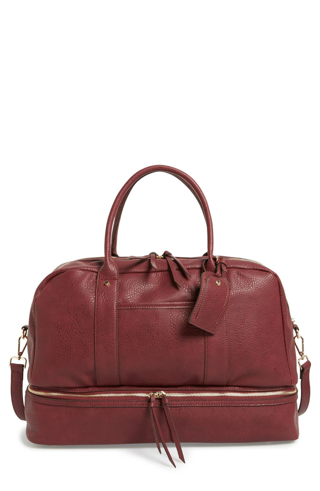 Main Image - Sole Society 'Mason' Faux Leather Weekend Bag