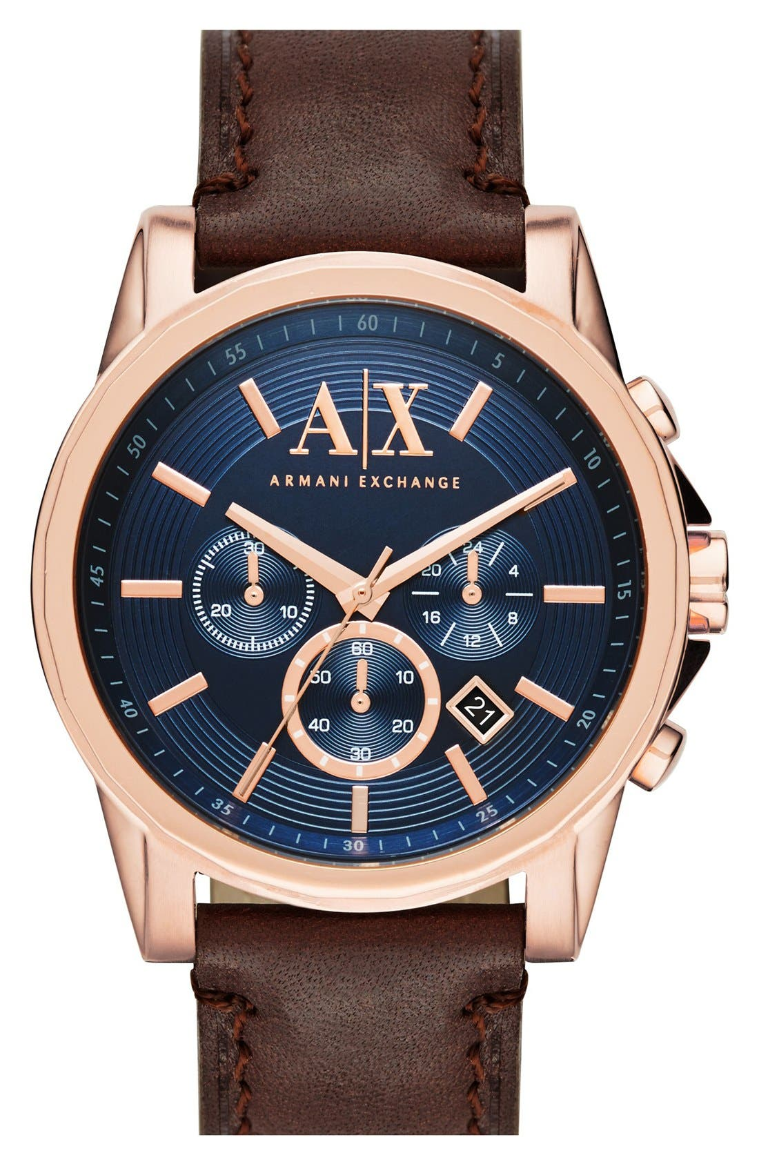 AX ARMANI EXCHANGE Chronograph Leather Strap, 45mm